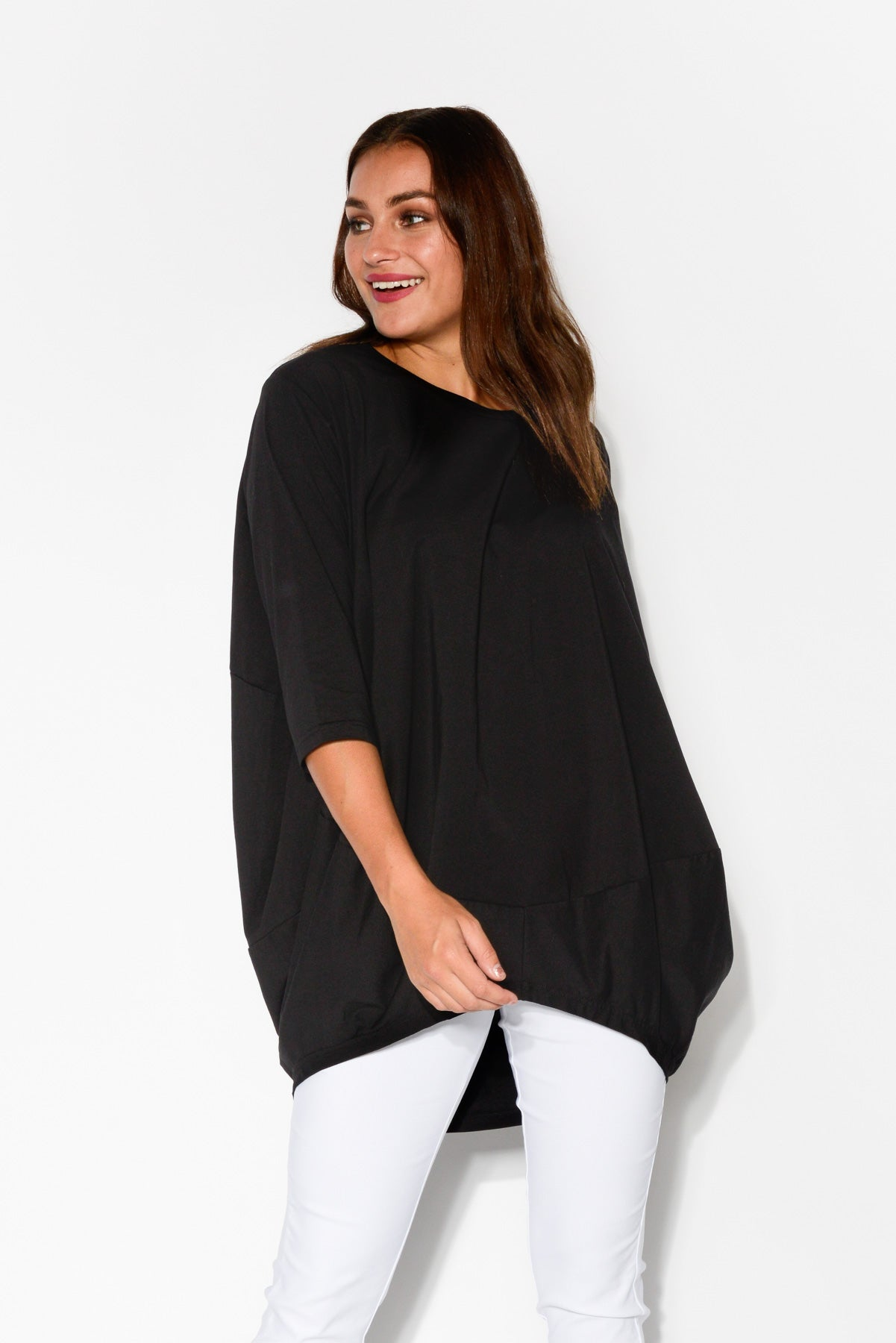 Black Billow Cotton Top - Blue Bungalow