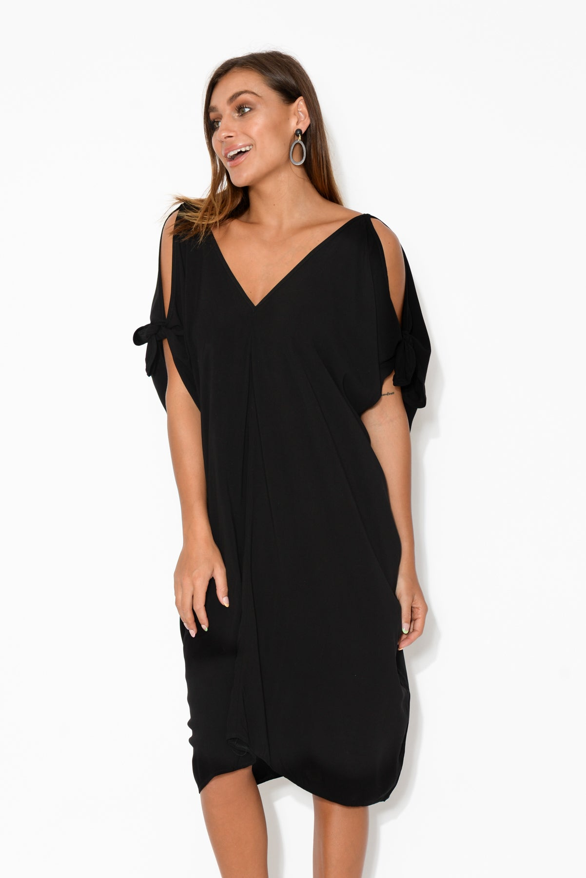Black Cold Shoulder Kaftan Dress