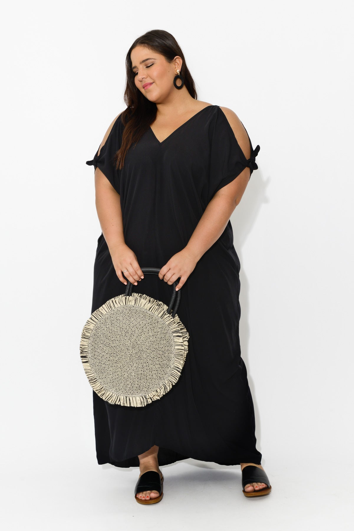 plus-size,curve-dresses,curve-kaftans,Black Cold Shoulder Maxi Dress - Blue Bungalow