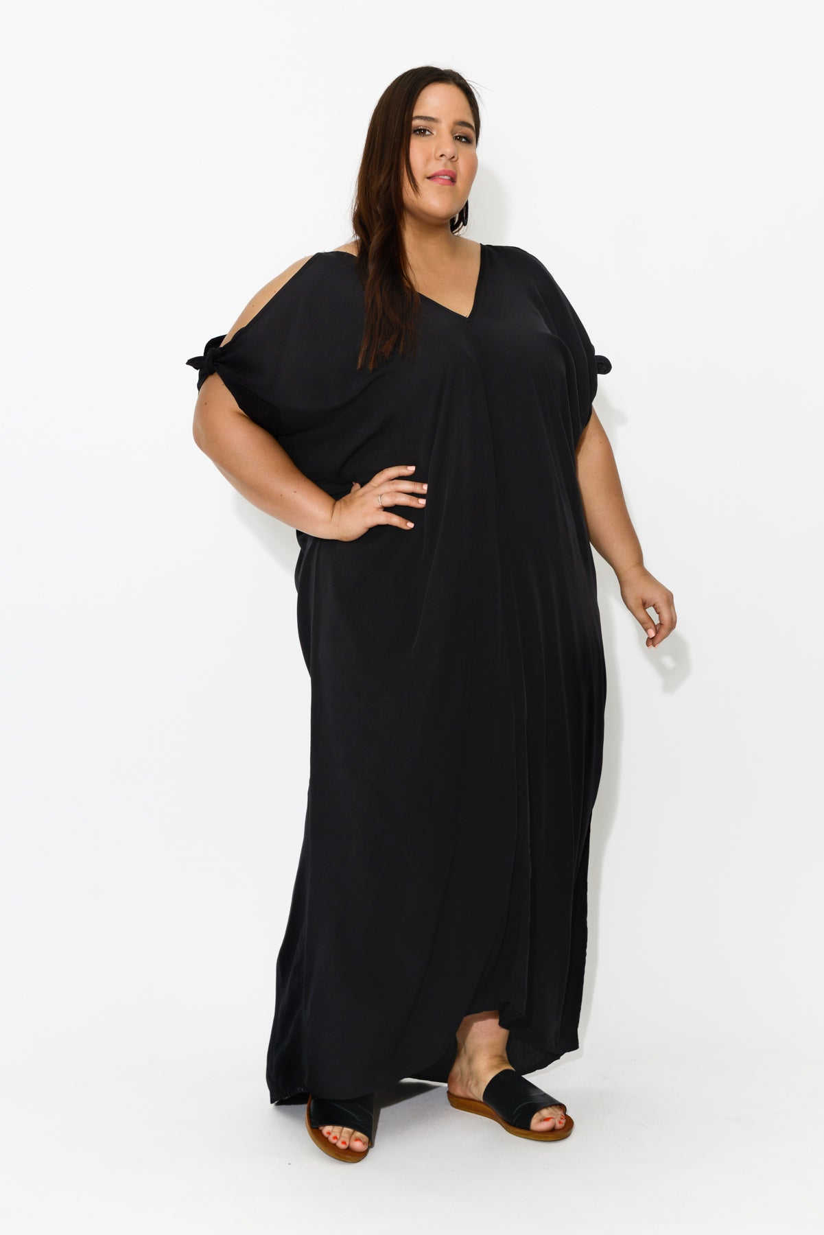 Black Cold Shoulder Maxi Dress - Blue Bungalow