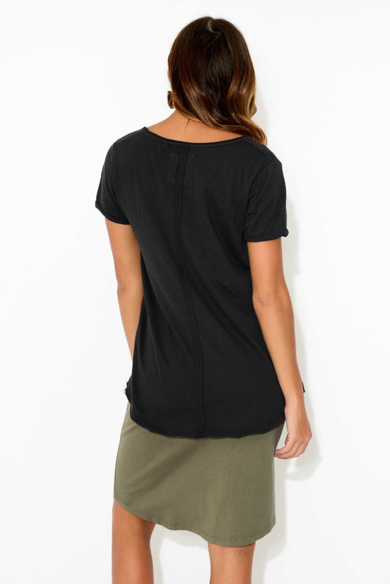 Black Cotton Fundamental Vee Tee