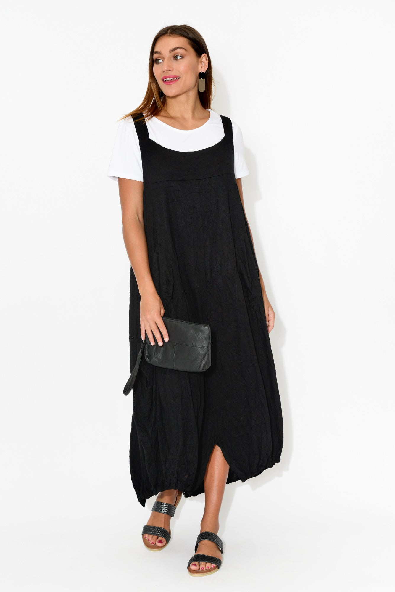 Black Crinkle Cotton Pinafore Dress
