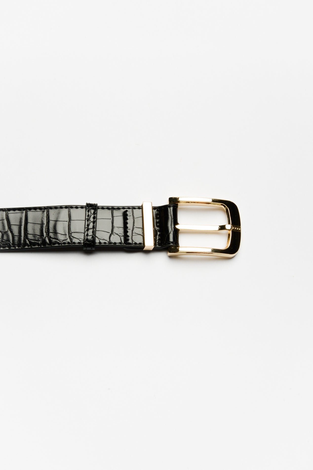 Black Croc Embossed Belt - Blue Bungalow