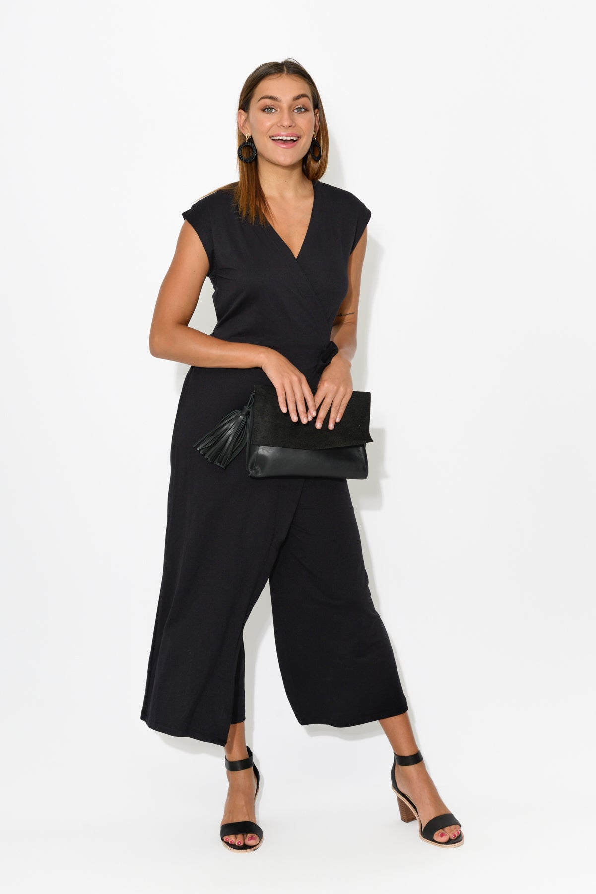 Black Cross Front Jumpsuit