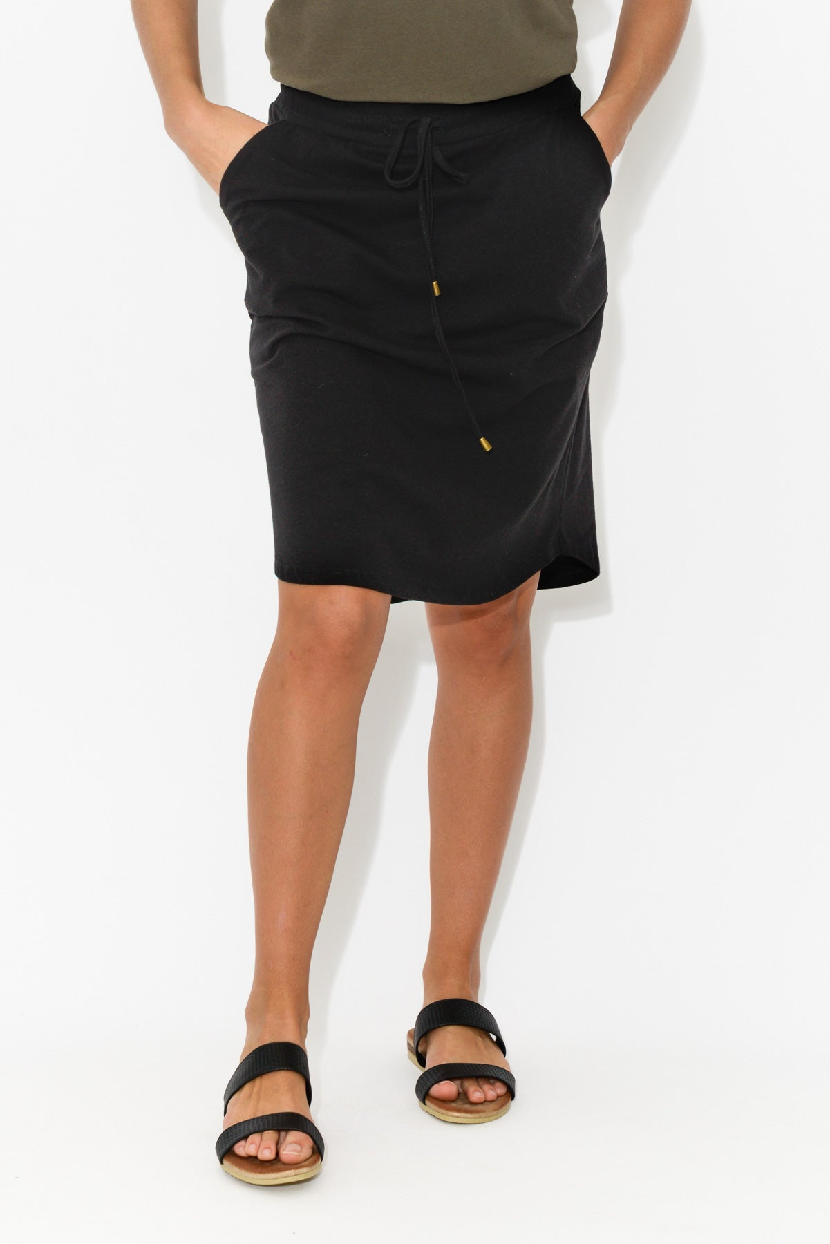 Black Everyday Drawstring Skirt