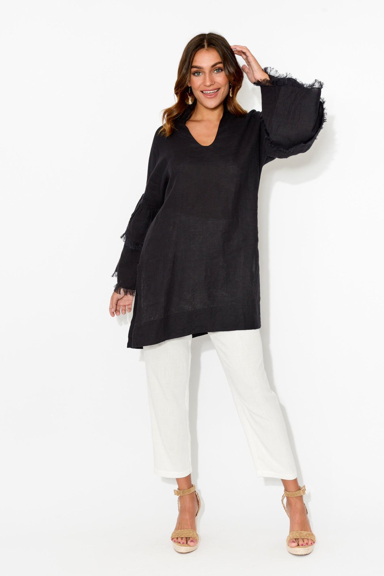 Black Fringe Sleeve Linen Top