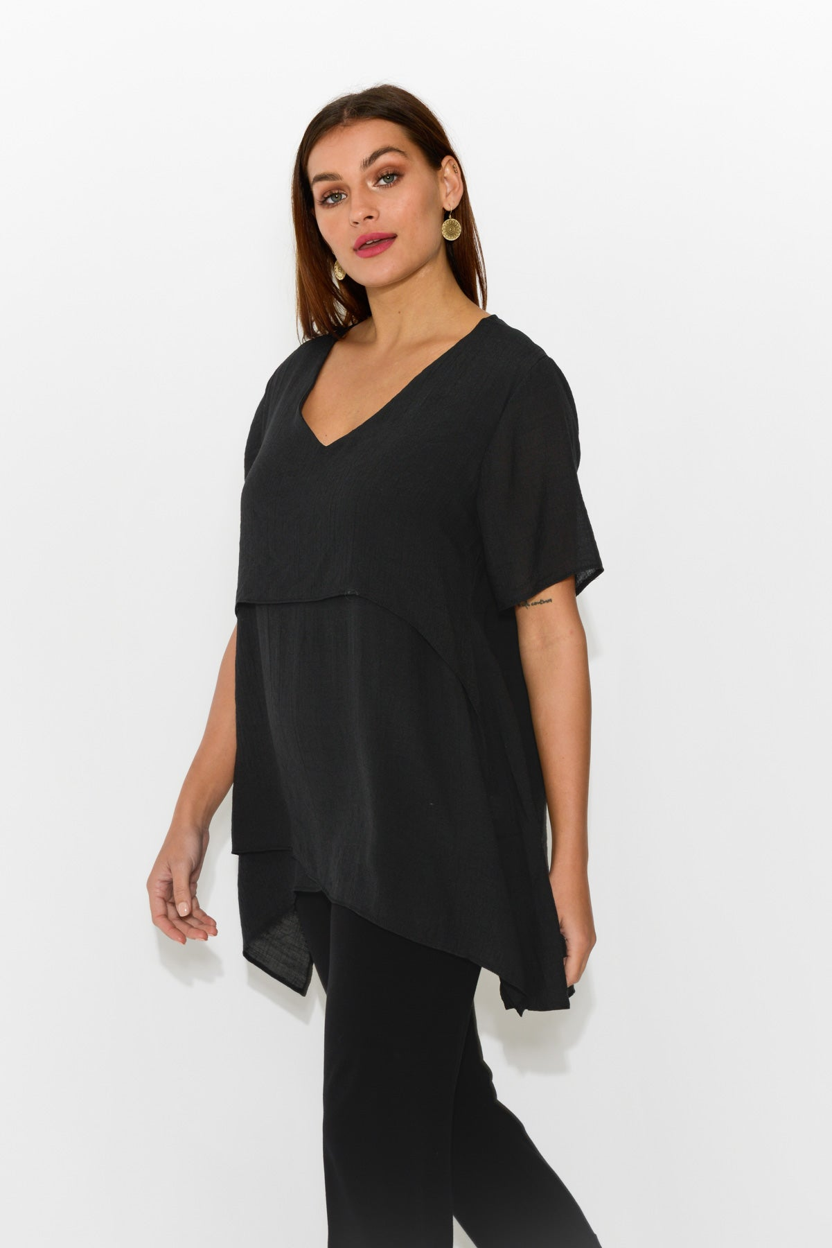 Black Layered Tunic Top - Blue Bungalow