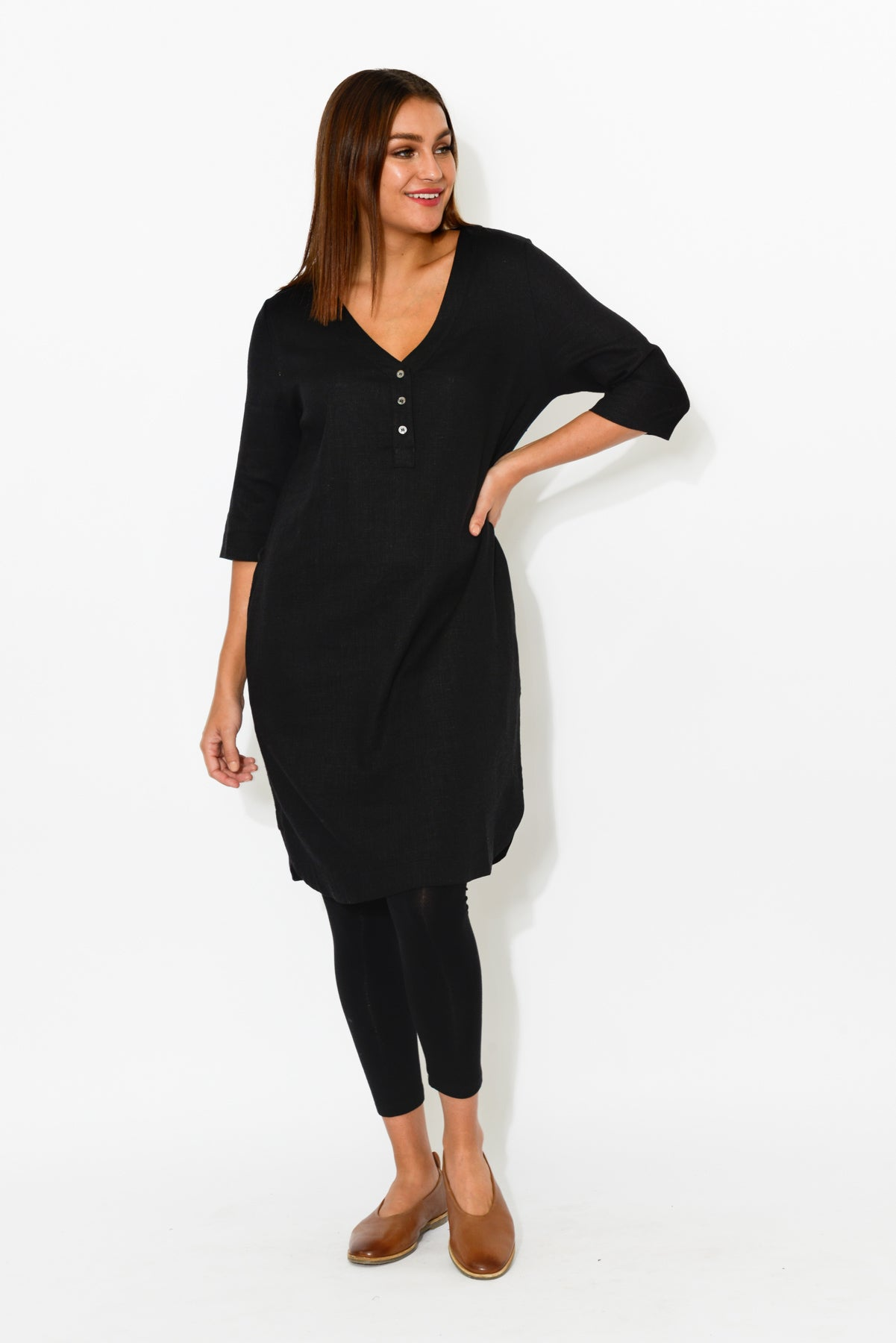 Black Linen Cotton Tunic Dress - Blue Bungalow
