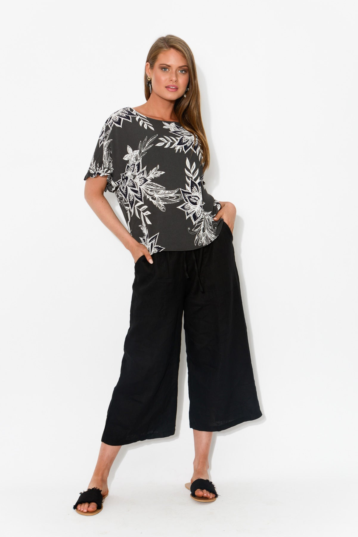 Black Linen Wide Leg Pant - Blue Bungalow