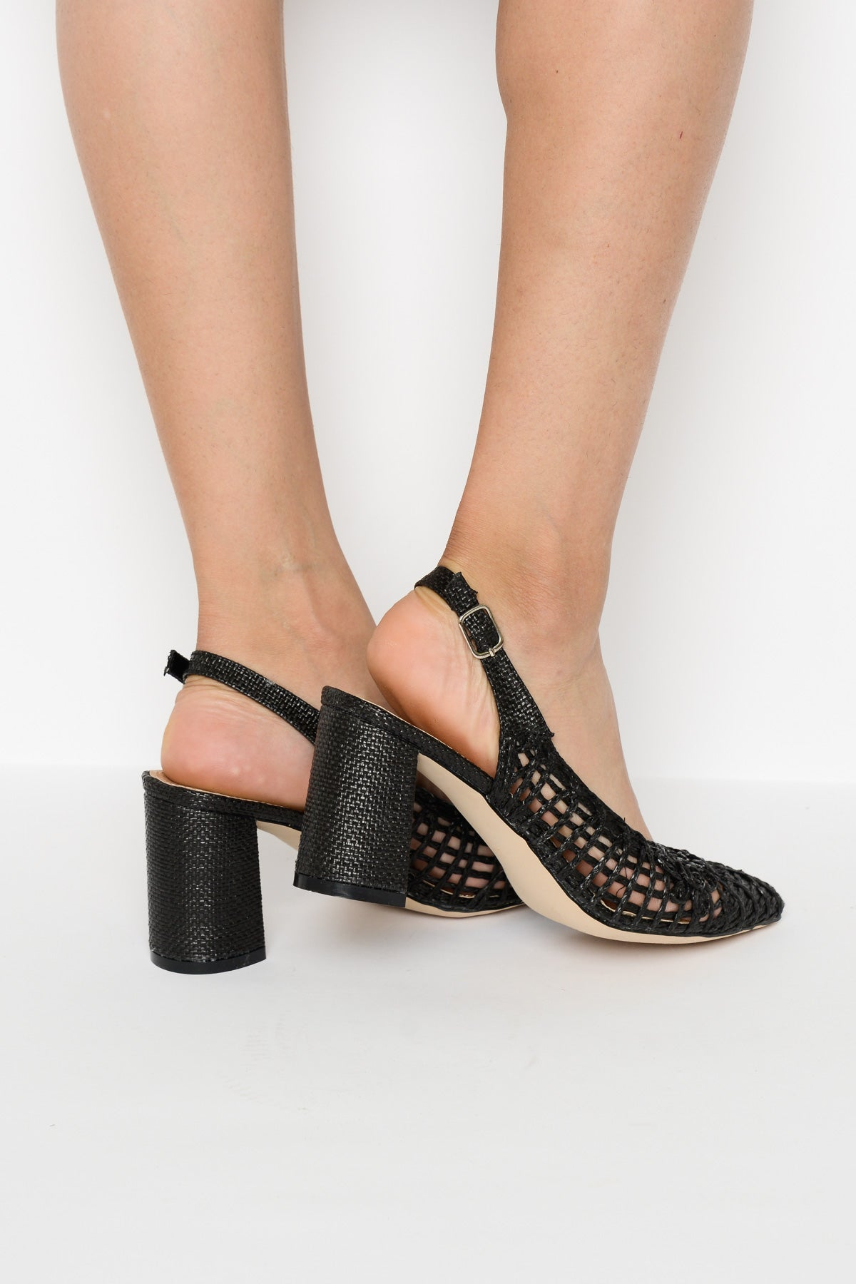 Black Open Weave Slingback Heel - Blue Bungalow