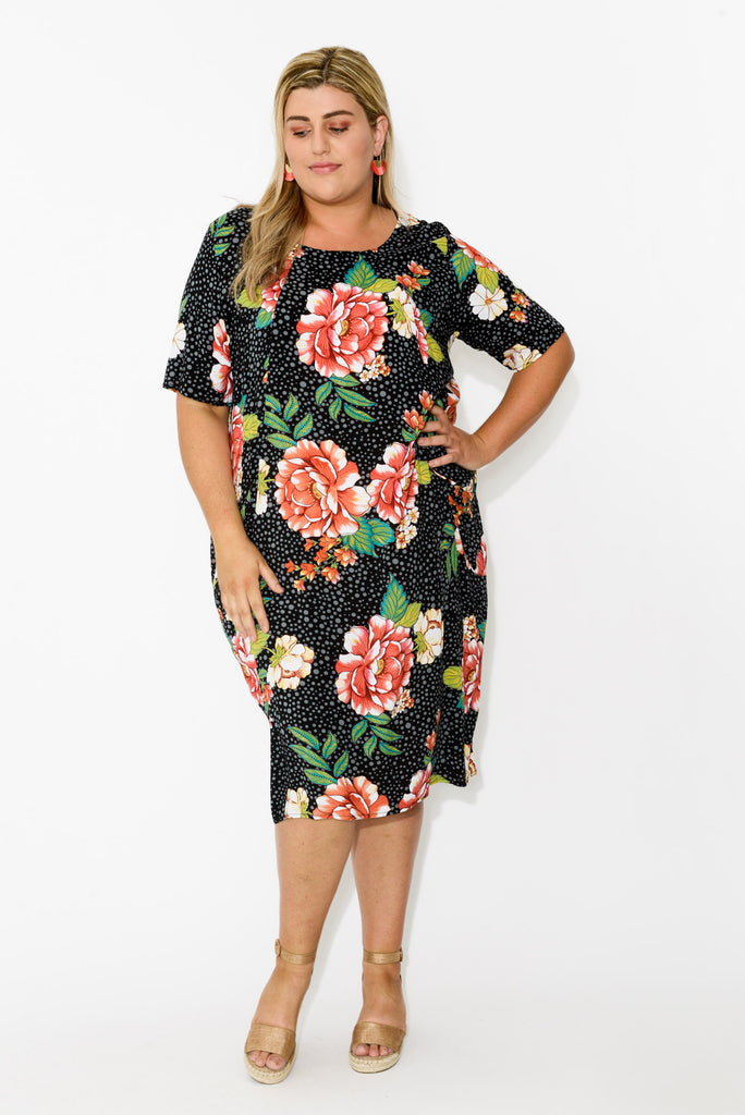 Black Peony Spot Dress