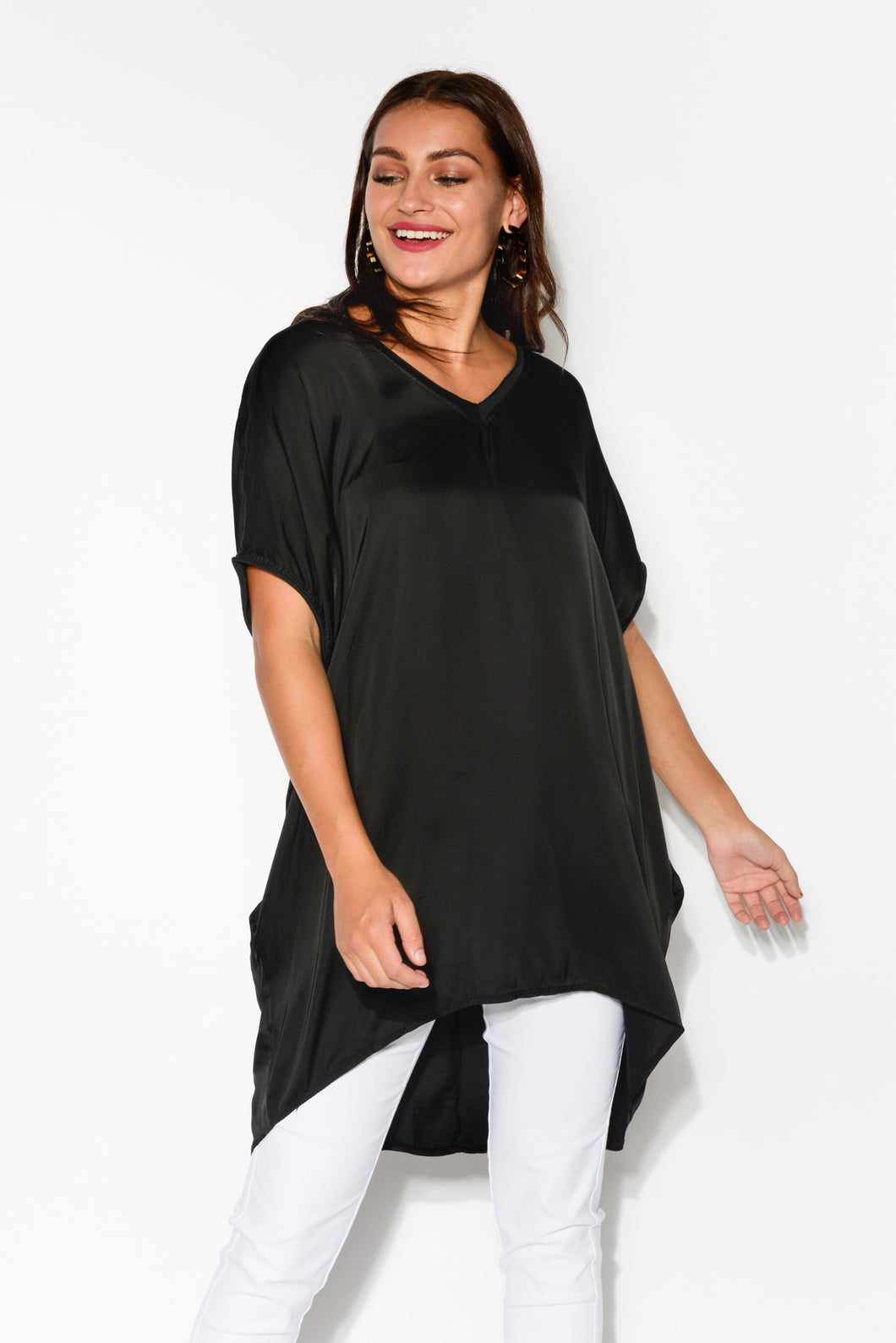 Black Silk Blend Pocket Top - Blue Bungalow