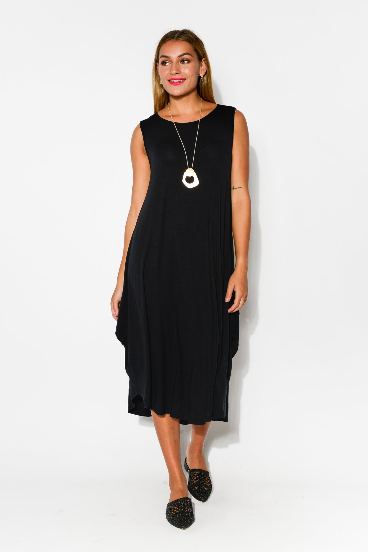 Black Modal Sleeveless Tri Drape Dress - Blue Bungalow