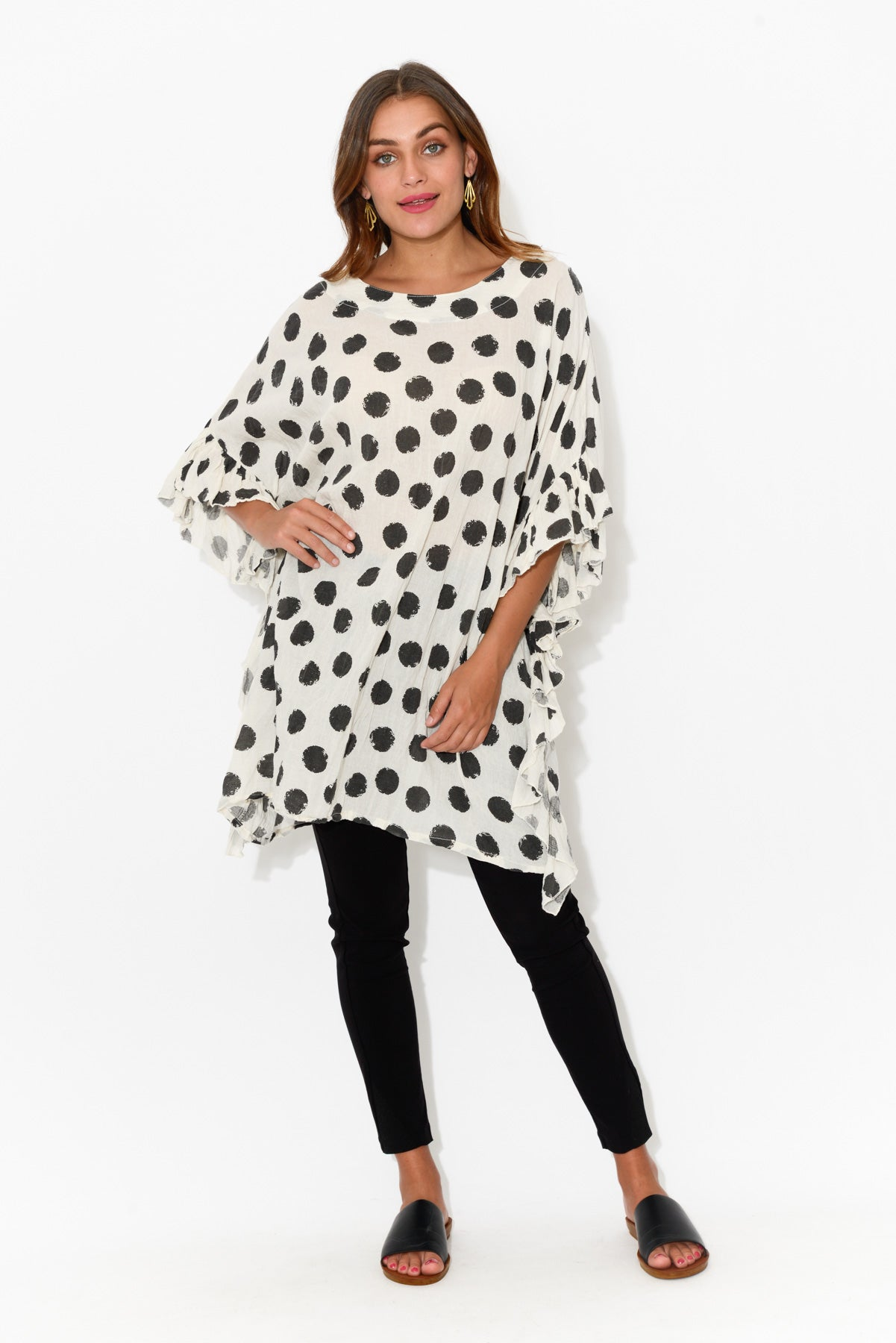 Black Spot Crinkle Cotton Oversized Tunic - Blue Bungalow