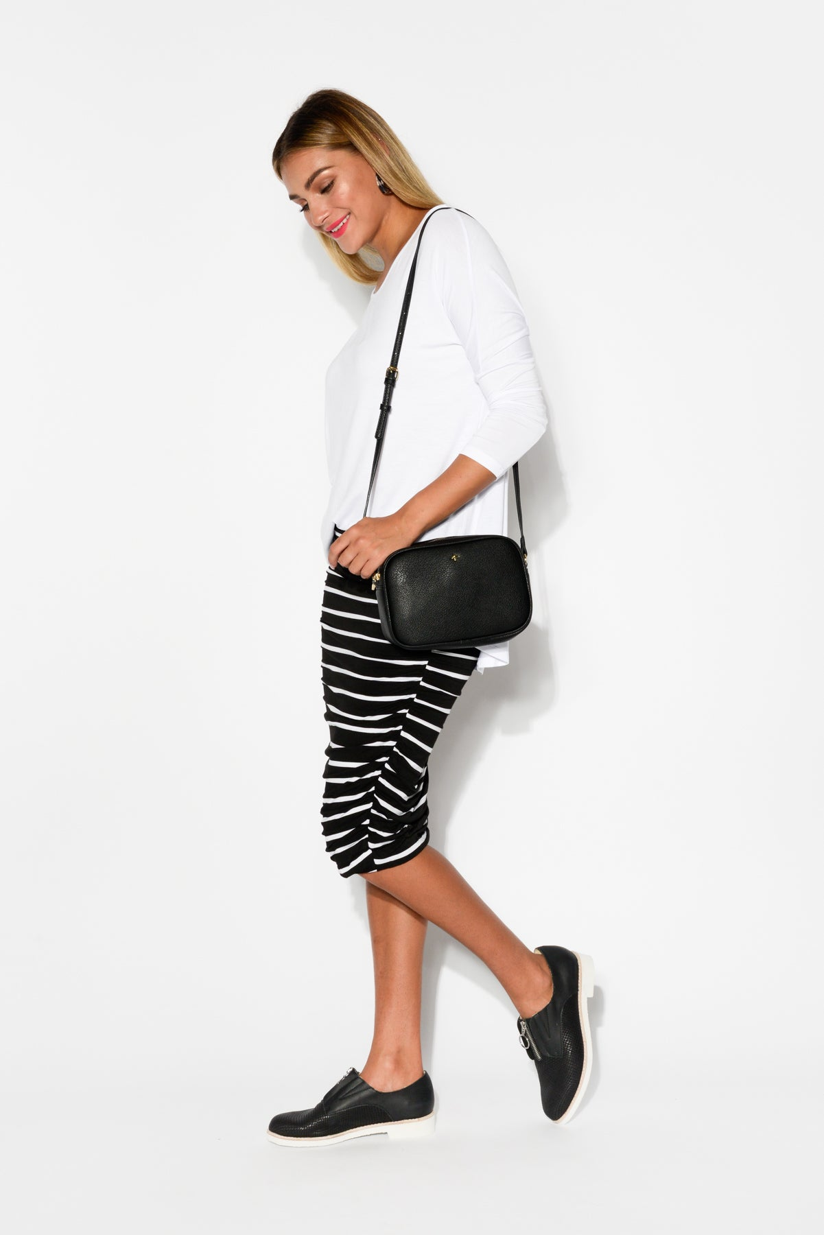 Black Stripe Ruched Skirt - Blue Bungalow