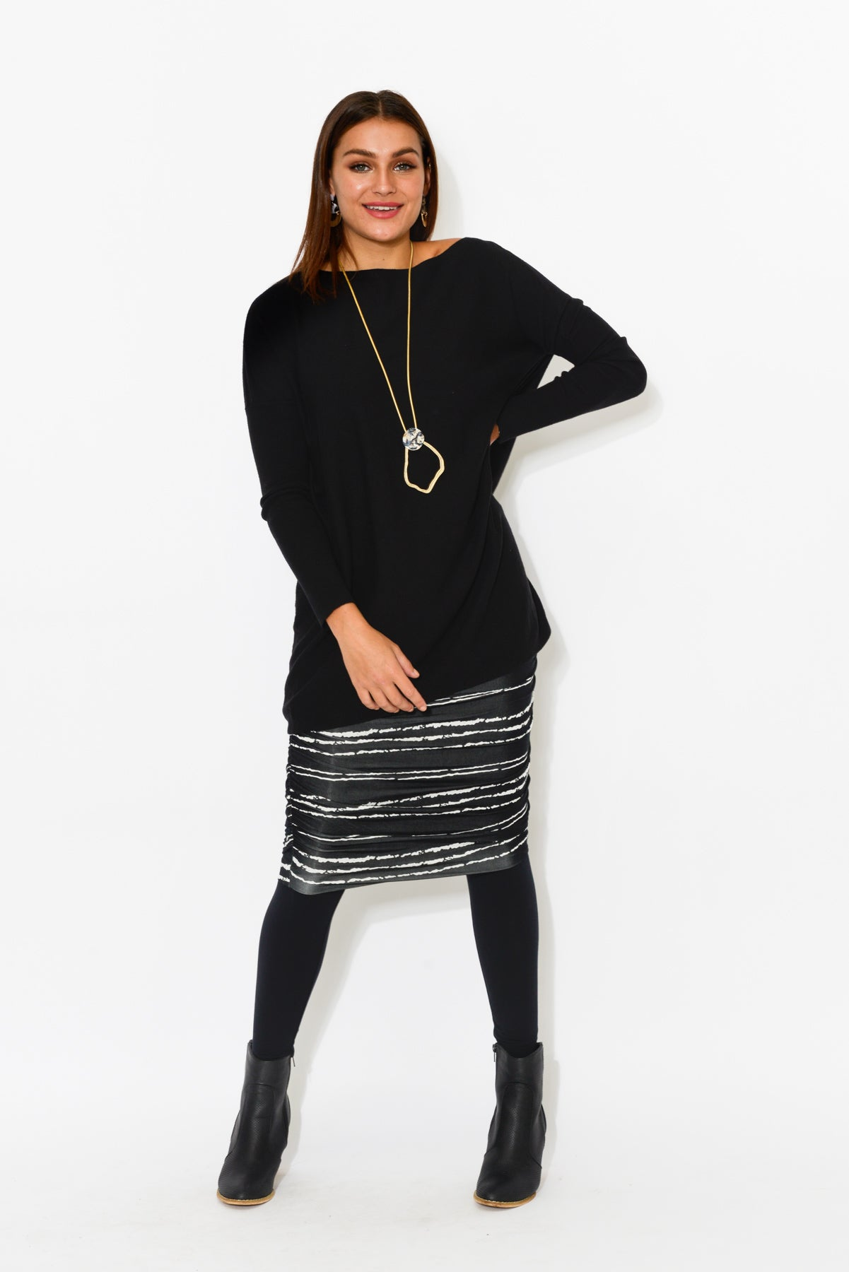 Black Sugar Stripe Ruched Skirt - Blue Bungalow