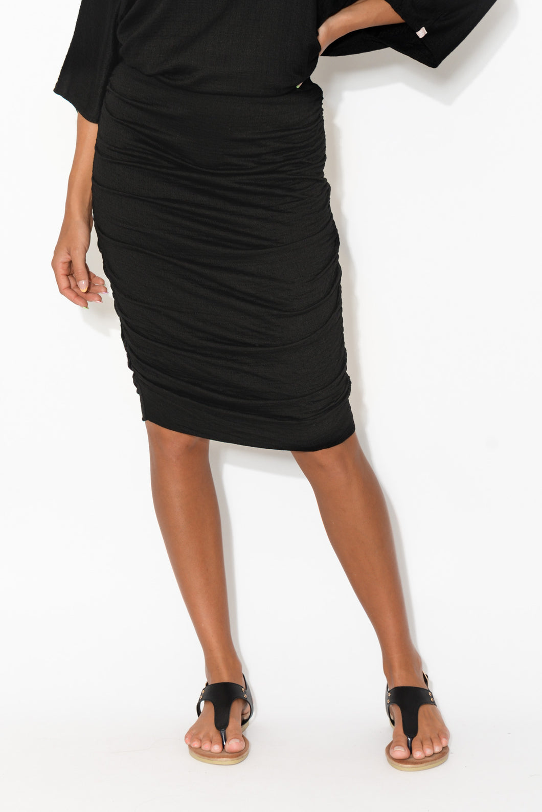 Black Textured Ruched Skirt
