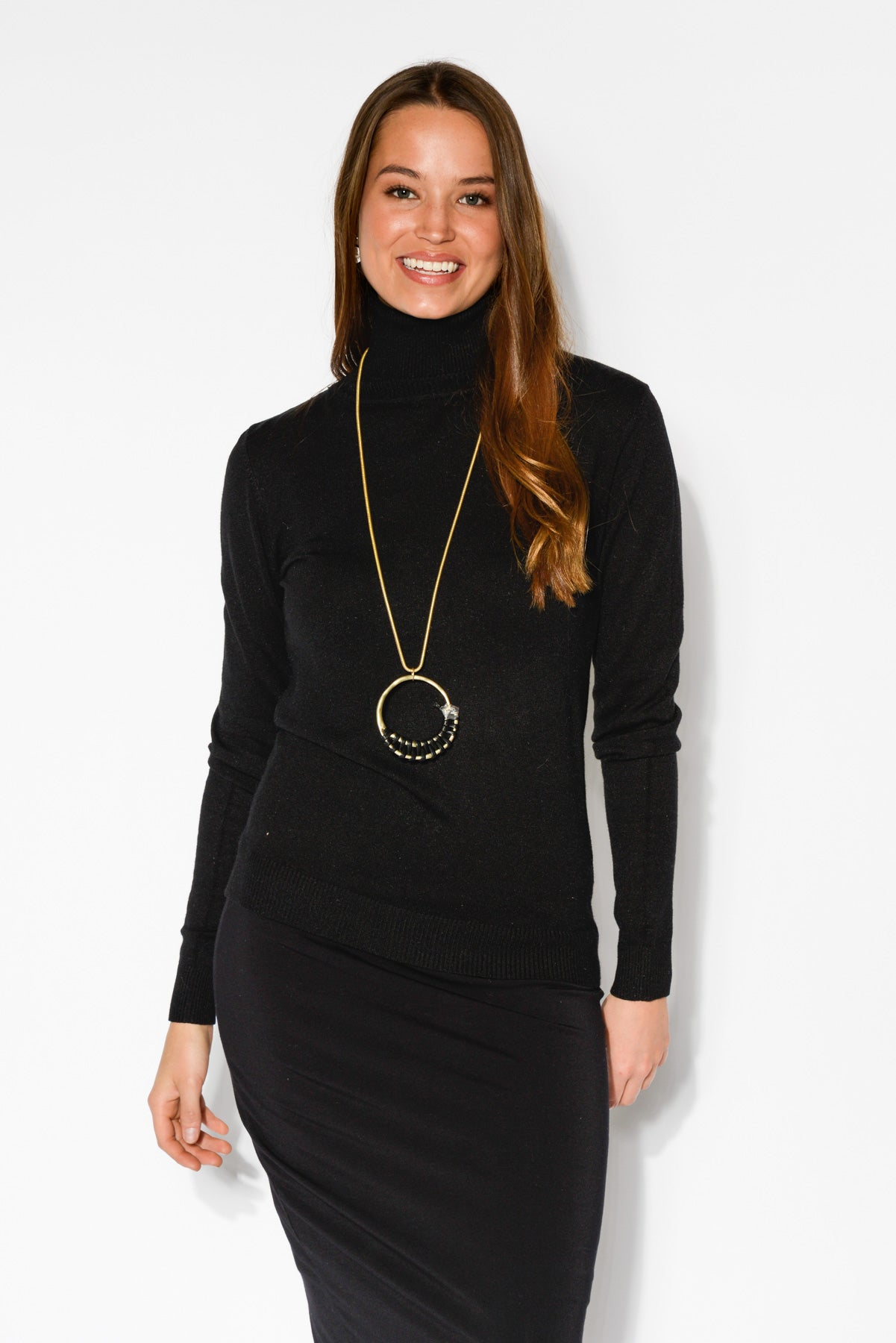 Black Turtleneck Knit Top - Blue Bungalow