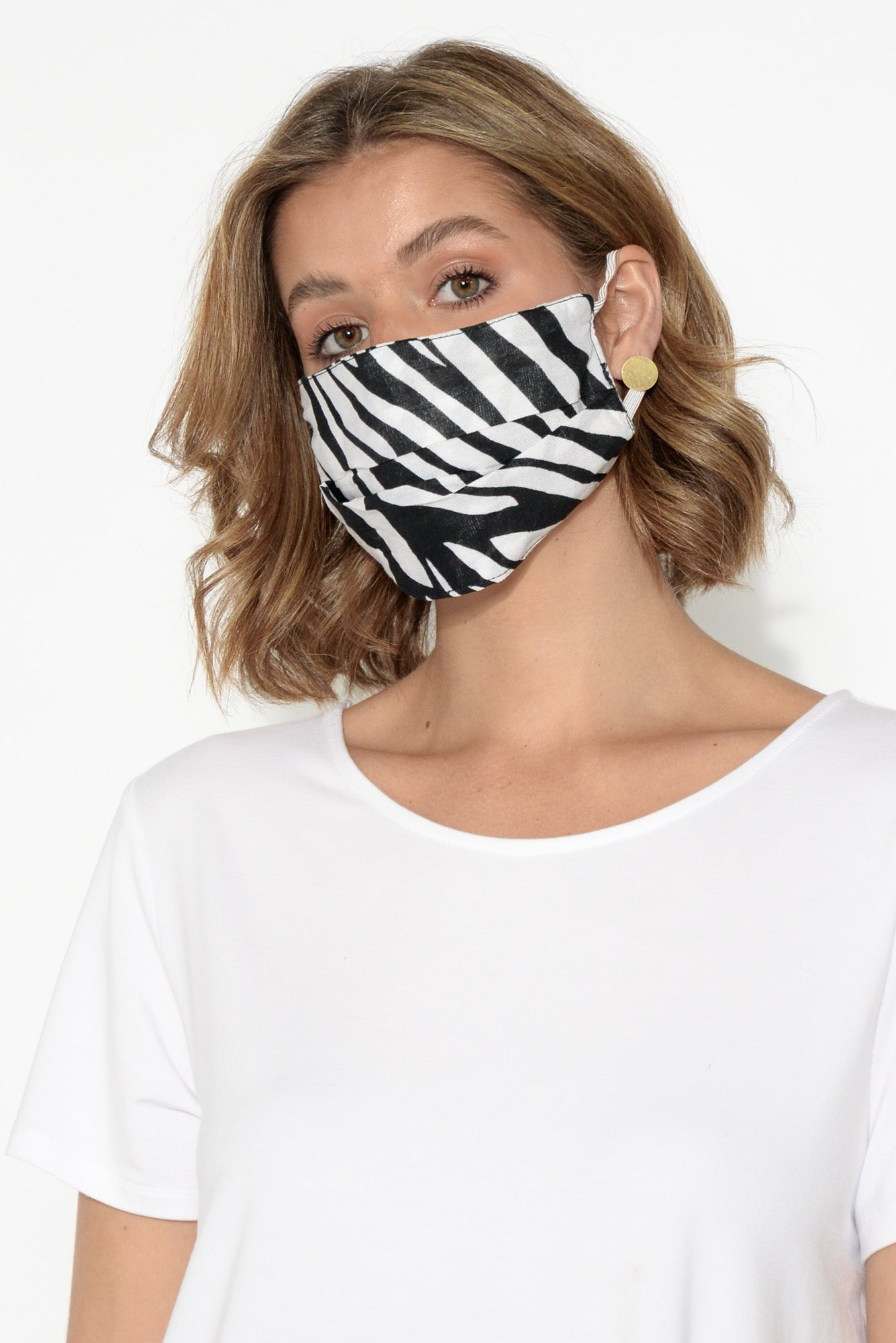 Black and White Zebra Fashion Face Mask