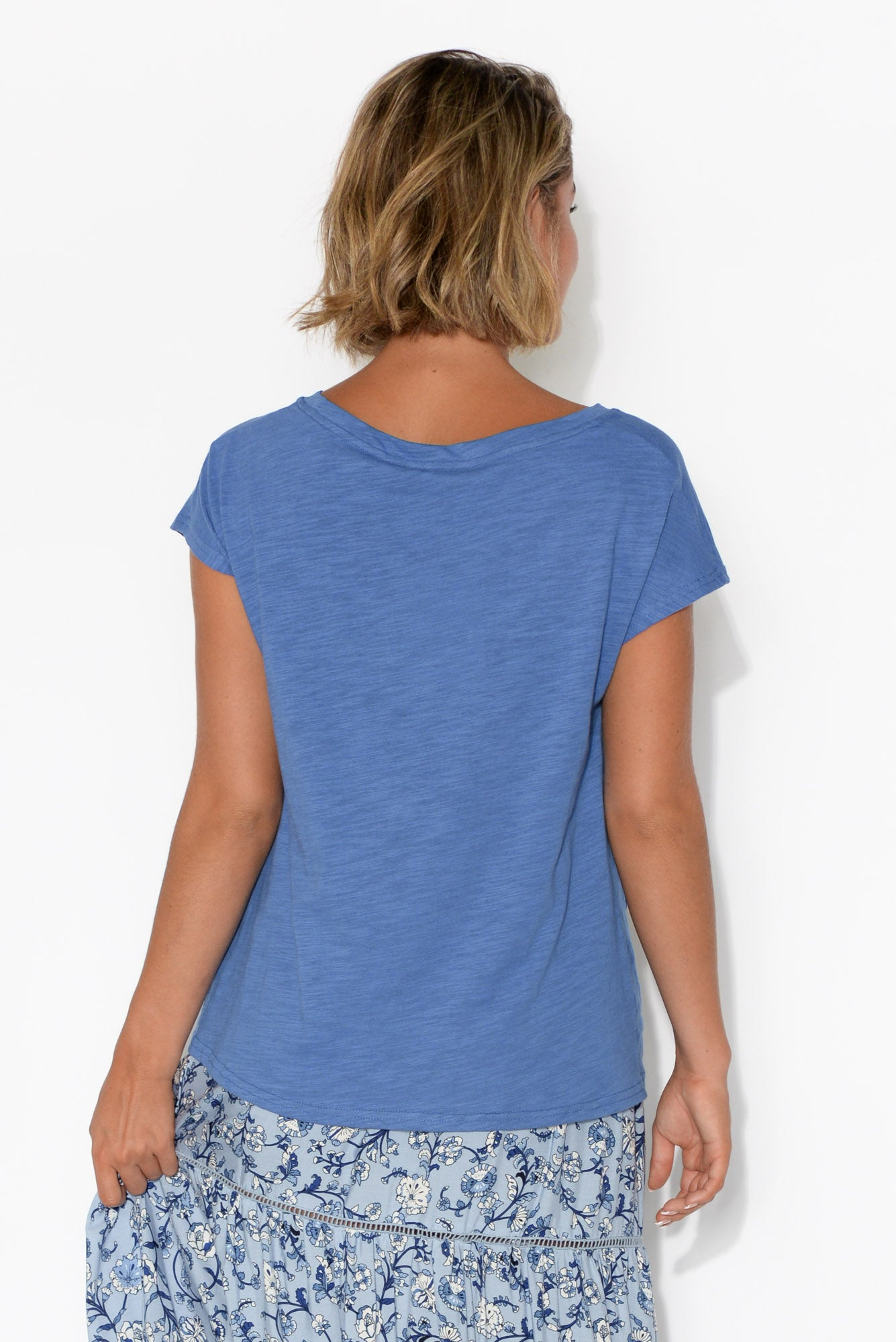 Blue Cotton Slub Twist Tee