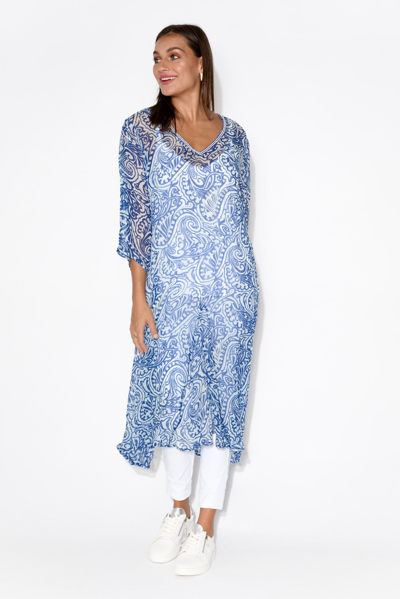 Blue Paisley Silk Midi Dress