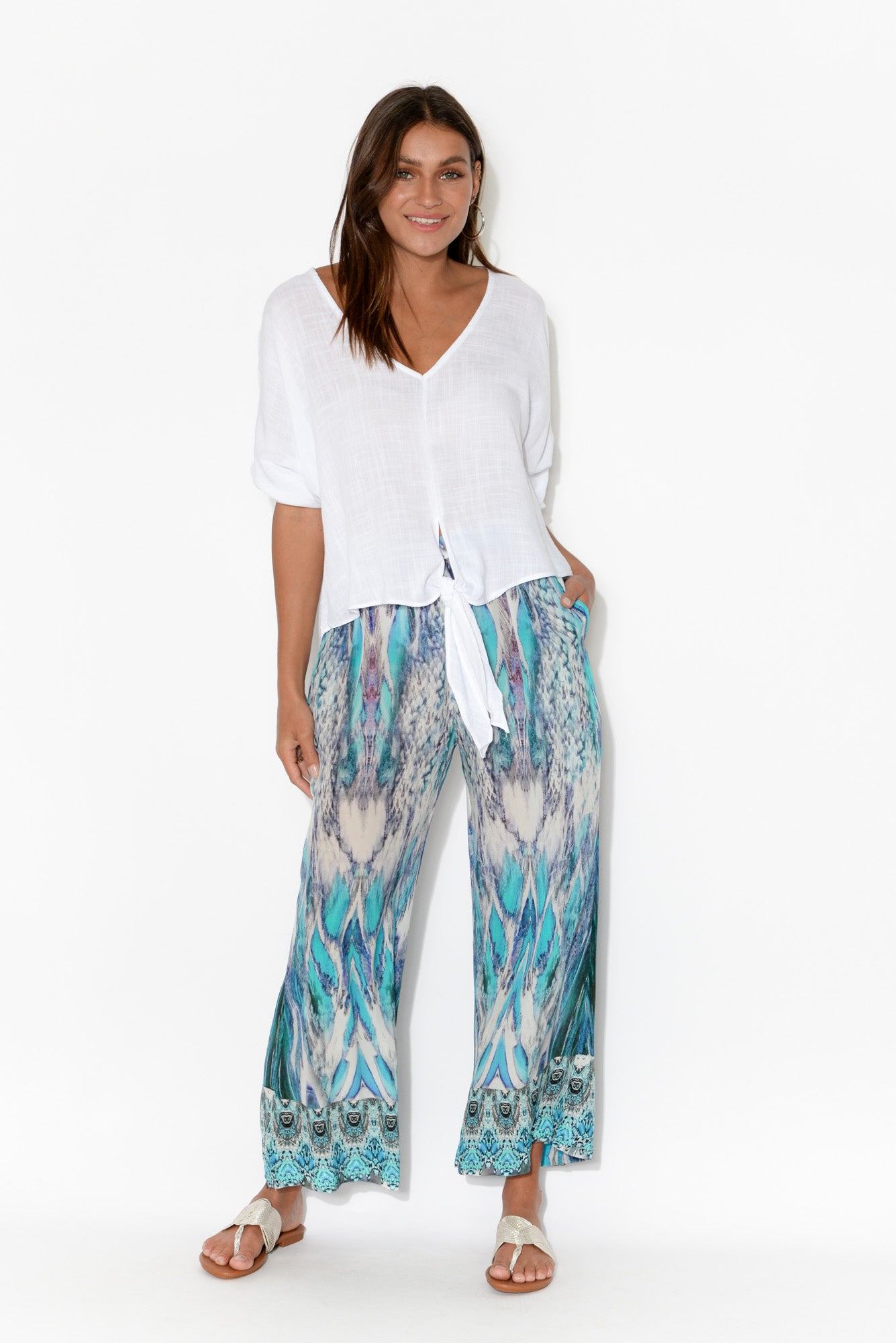 Blue Paluma Silk Wide Leg Pant