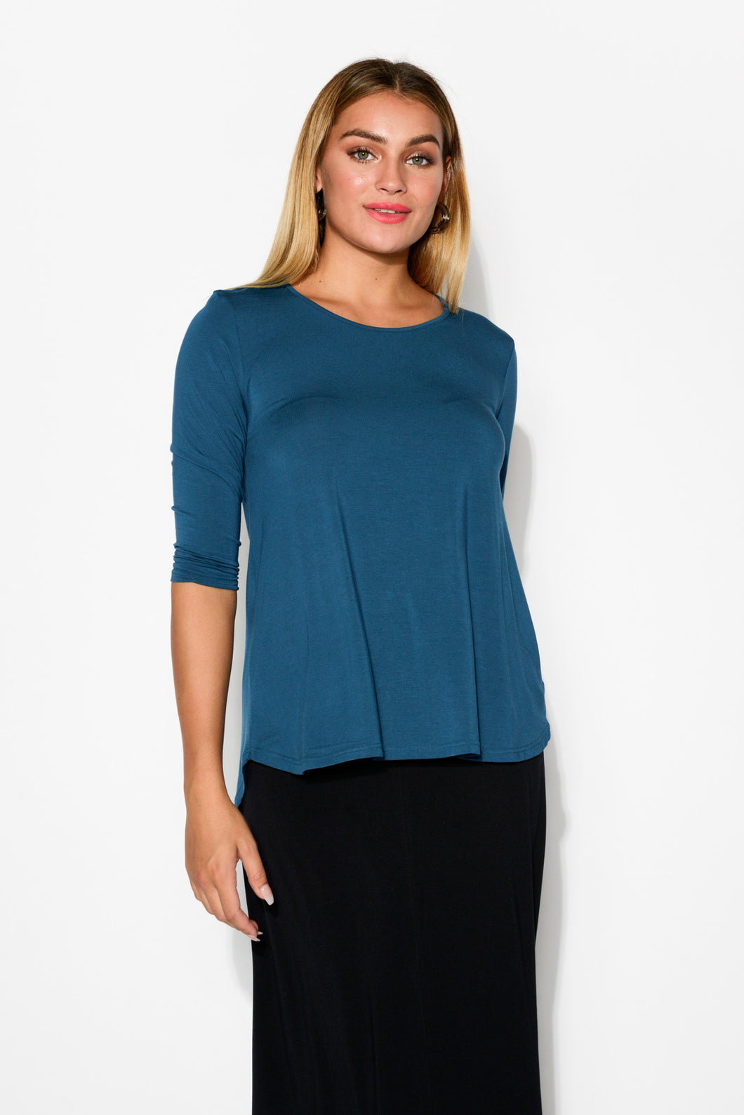 Blue 3/4 Sleeve Modal Hi Lo Top - Blue Bungalow