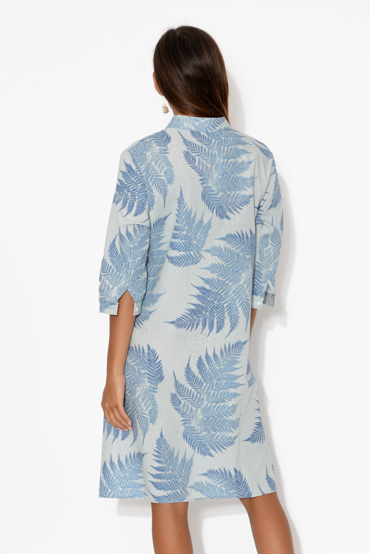Blue Fern Linen Cotton Tunic
