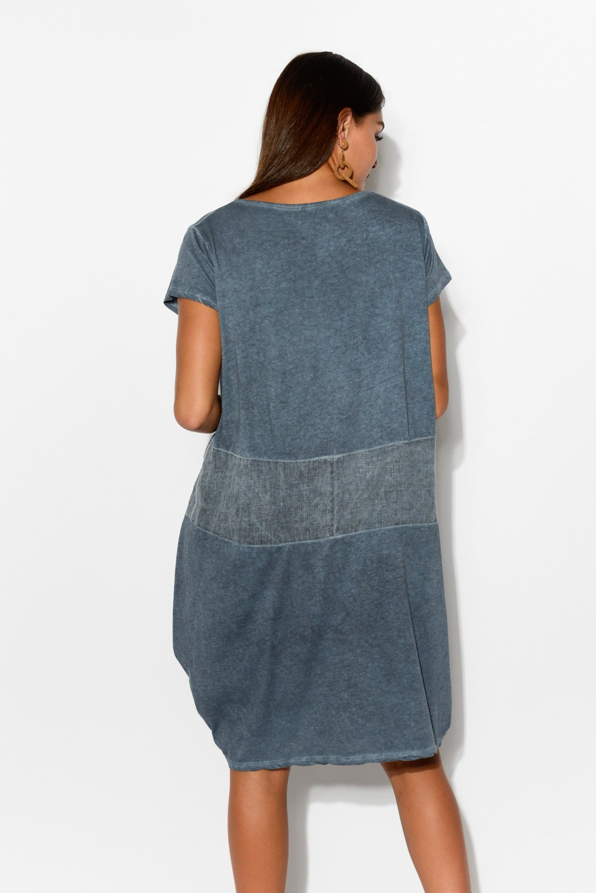Blue Linen Panel Cotton Dress - Blue Bungalow