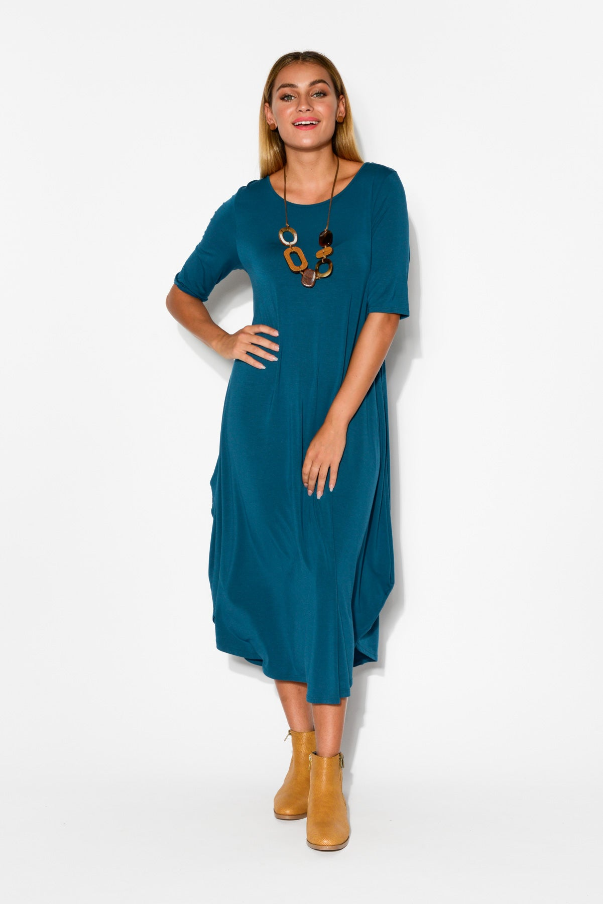 Blue Modal Tri Drape Dress - Blue Bungalow