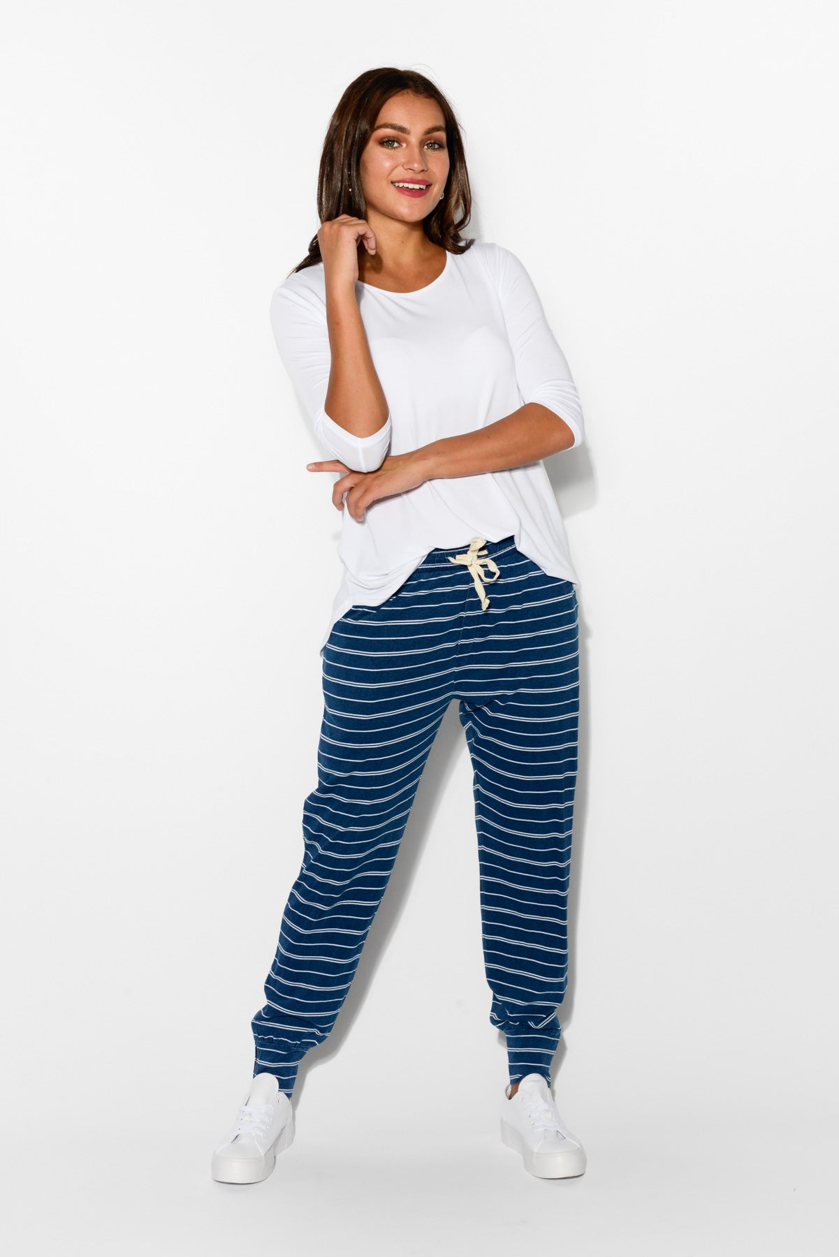 Blue Stripe Relaxed Cotton Pant - Blue Bungalow
