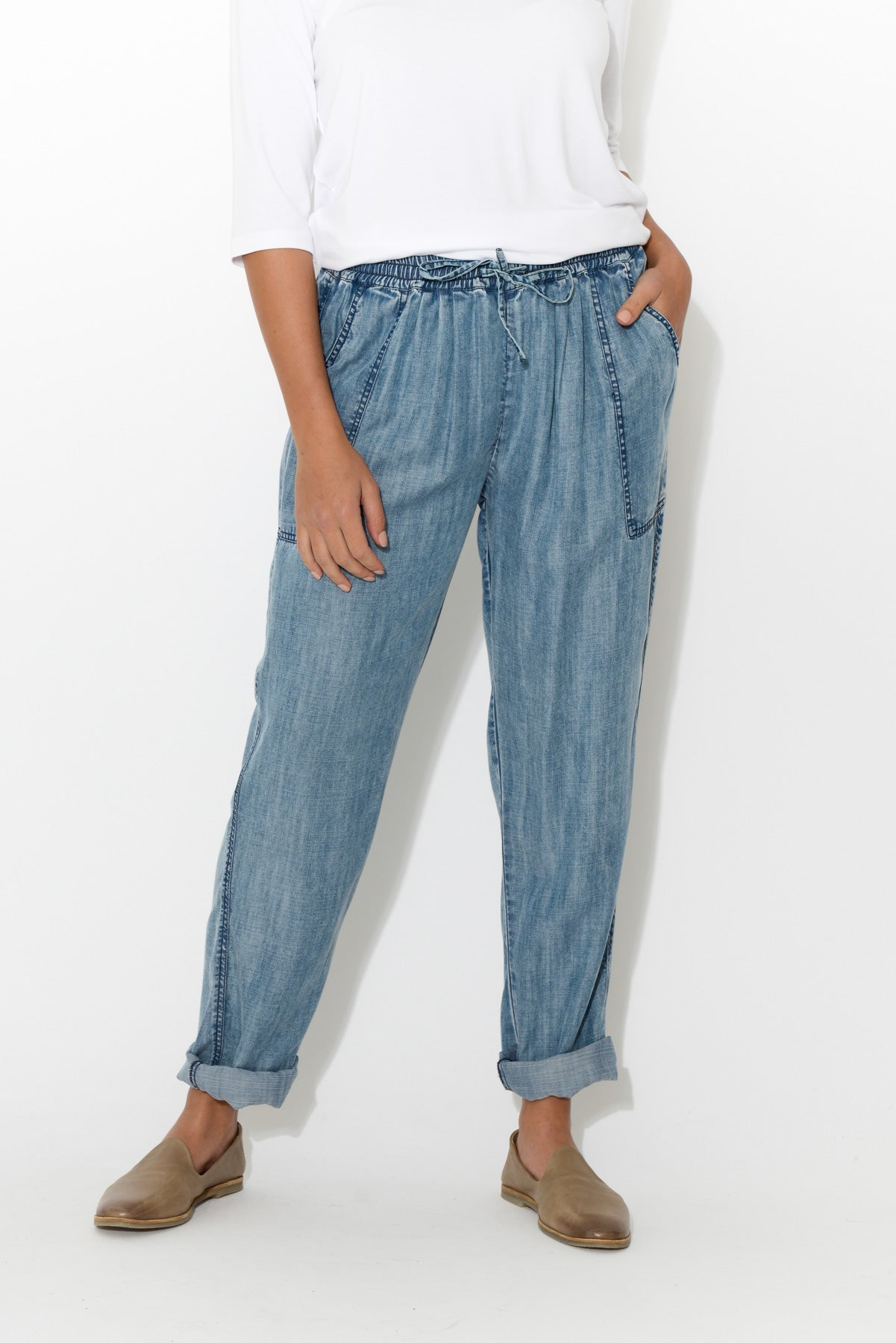 Blue Washed Relax Pant - Blue Bungalow