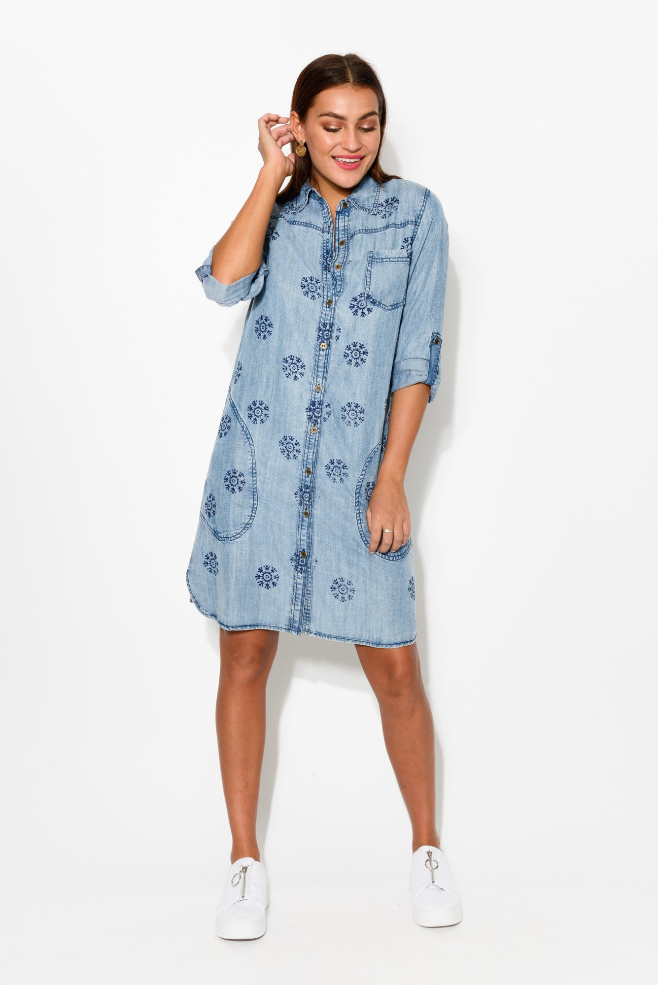 Blue Washed Shirt Dress - Blue Bungalow