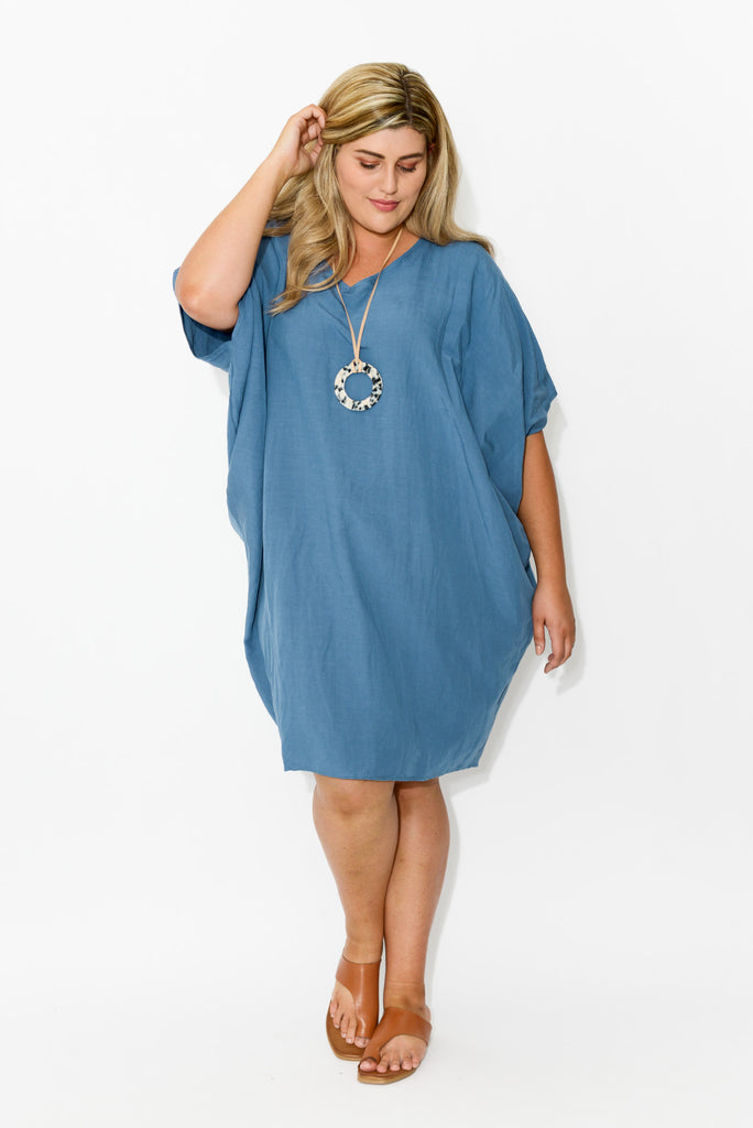 Blue Woven Batwing Dress