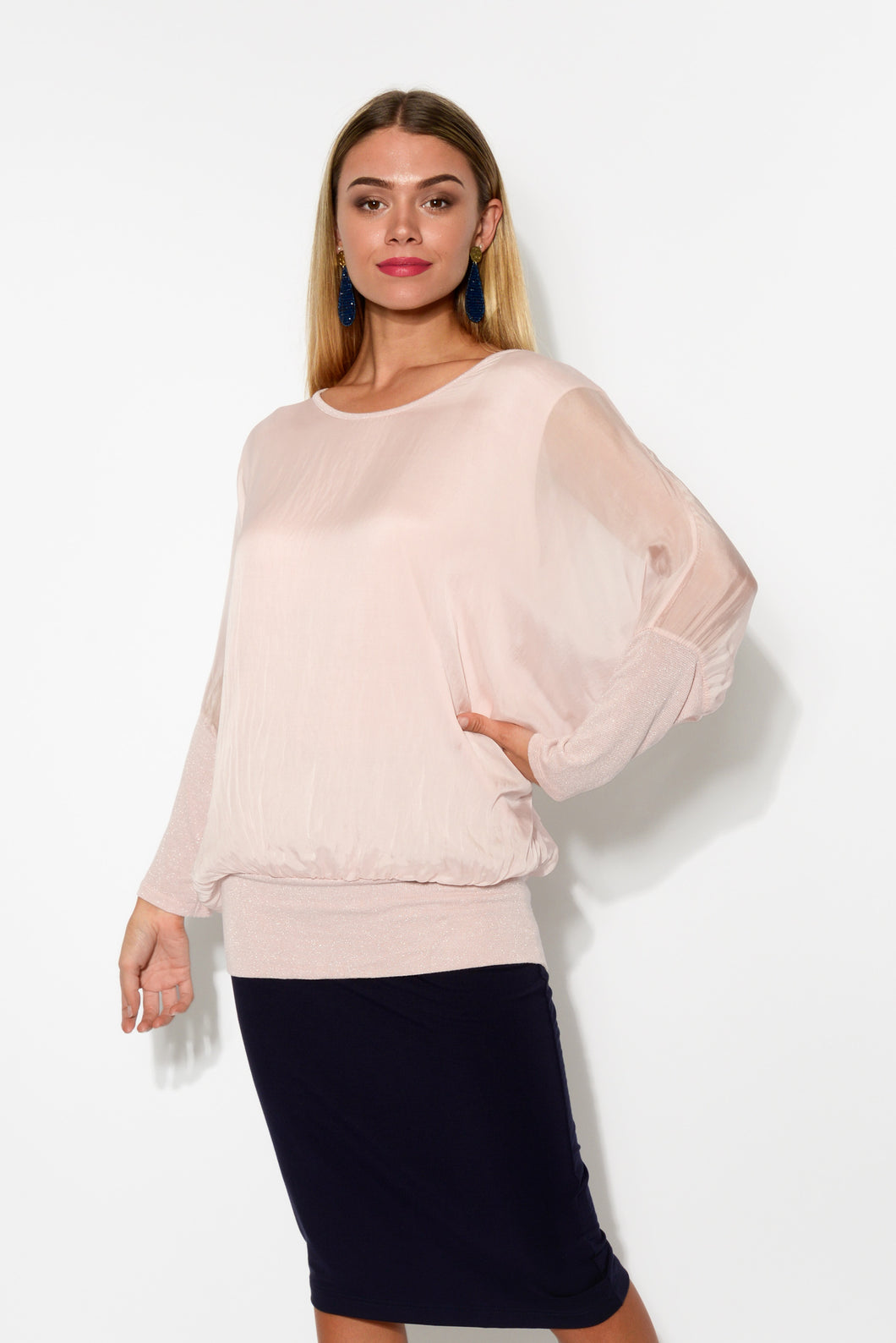 Blush Shimmer Silk Layer Top - Blue Bungalow