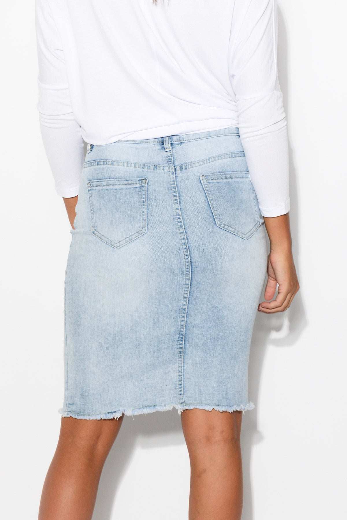 Bowie Light Denim Skirt - Blue Bungalow