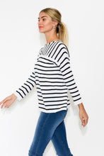 Breton White Stripe Linen Blend Top - Blue Bungalow