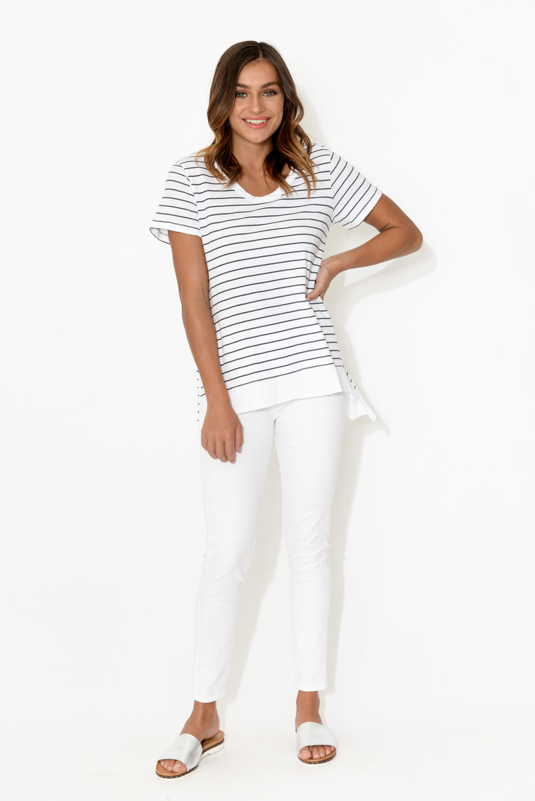 Brighton Navy Stripe Cotton Tee