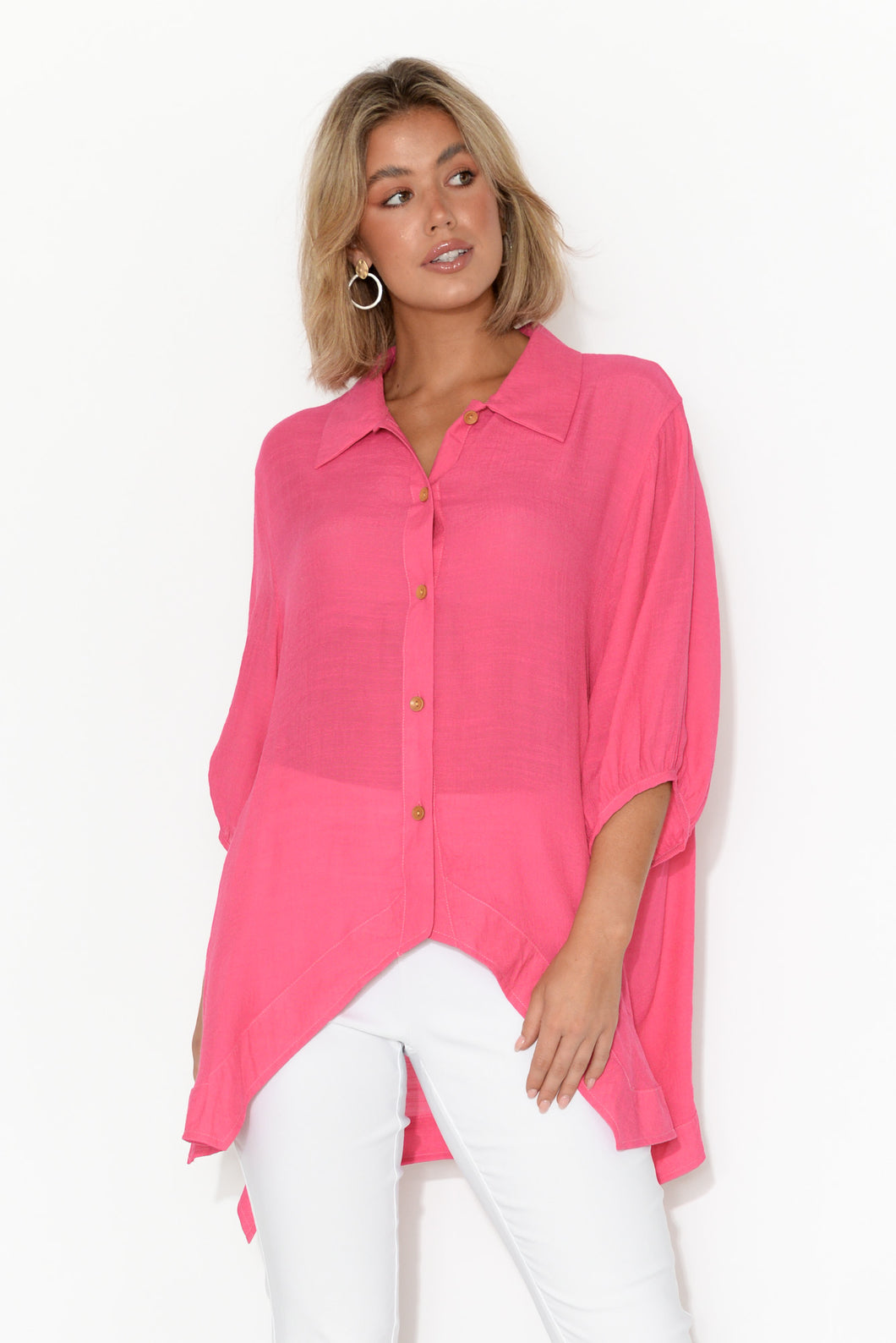 Brooke Hot Pink Button Up Shirt