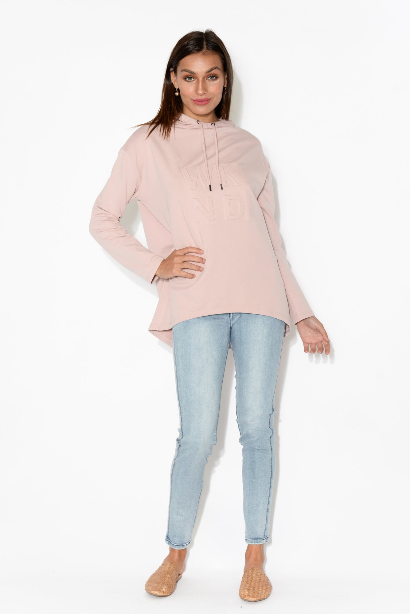 Brooklyn Blush Embossed Hooded Jumper
