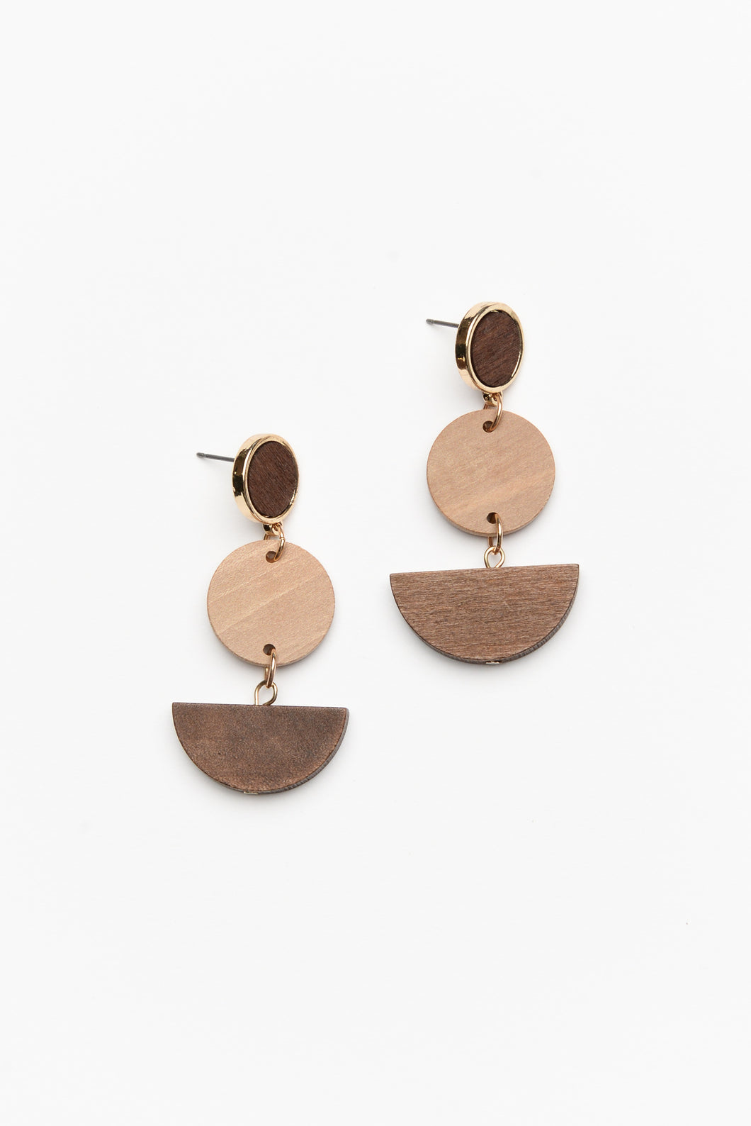 Brown Wooden Shape Geo Earring