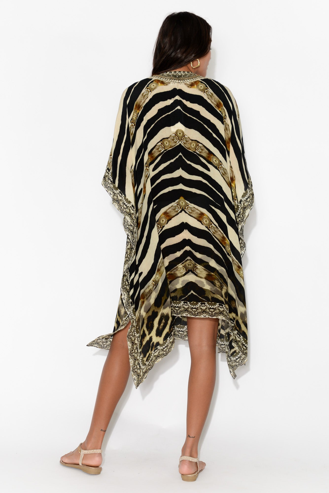 Brown Zebra Silk Kaftan