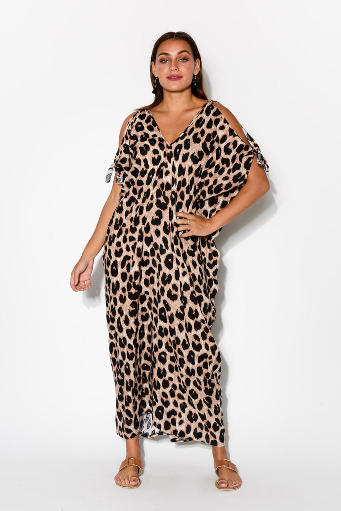 1f2ffa320671 Brown Leopard Cold Shoulder Maxi Kaftan