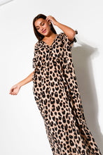 Brown Leopard Cold Shoulder Maxi Kaftan - Blue Bungalow