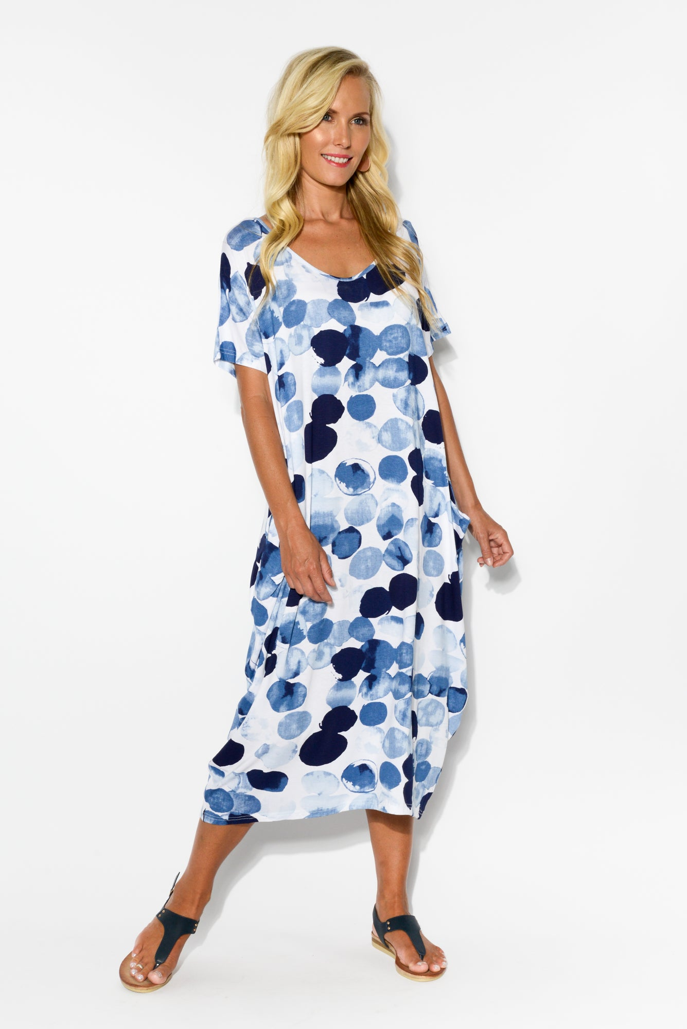 Noelle Blue Spot Draped Dress - Blue Bungalow