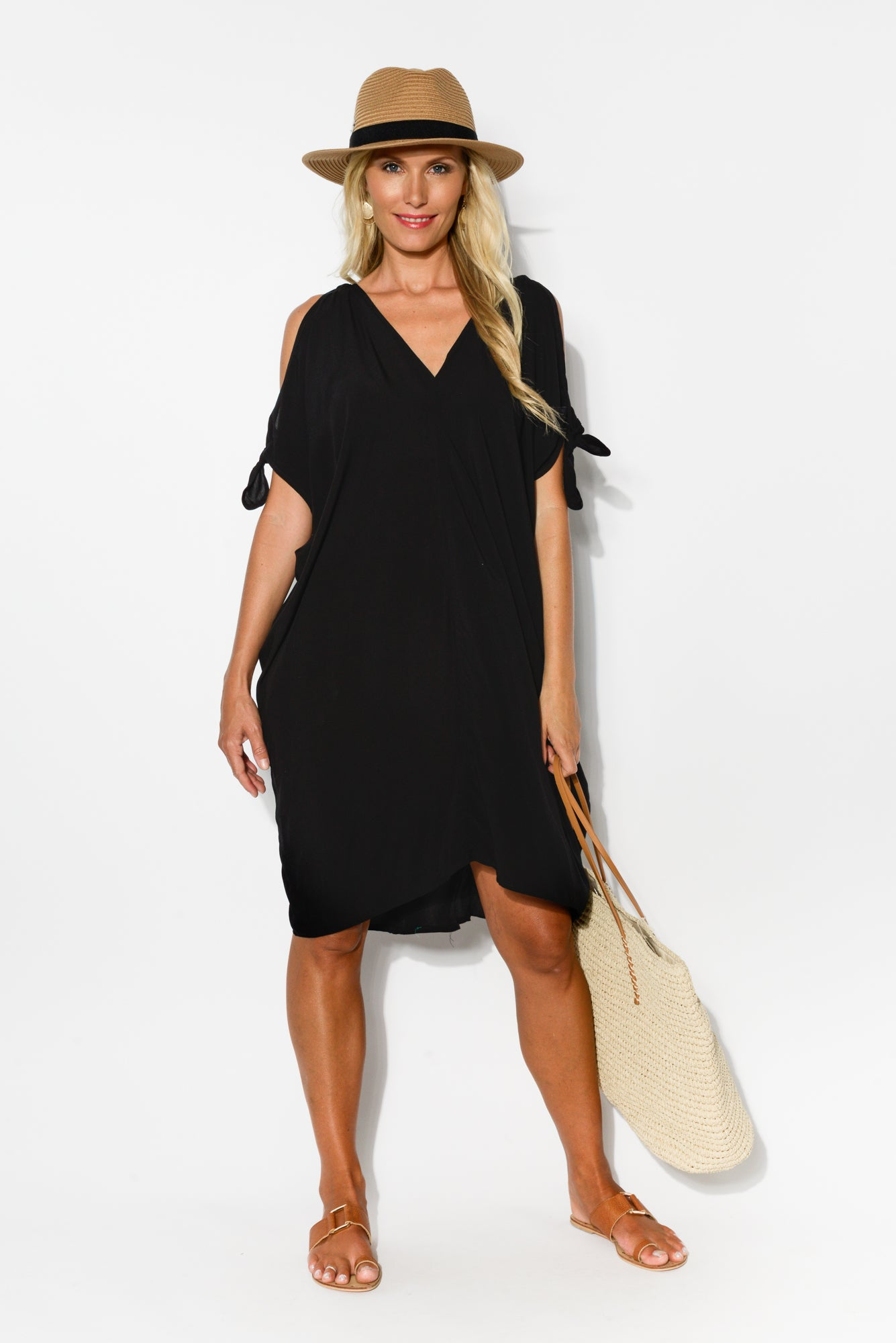 Black Cold Shoulder Kaftan Dress - Blue Bungalow