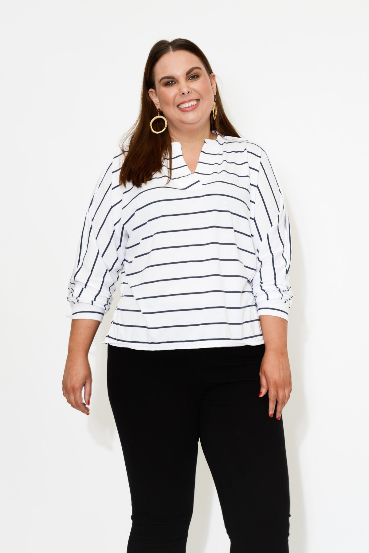 CURVE Navy Organic Cotton Top - Blue Bungalow