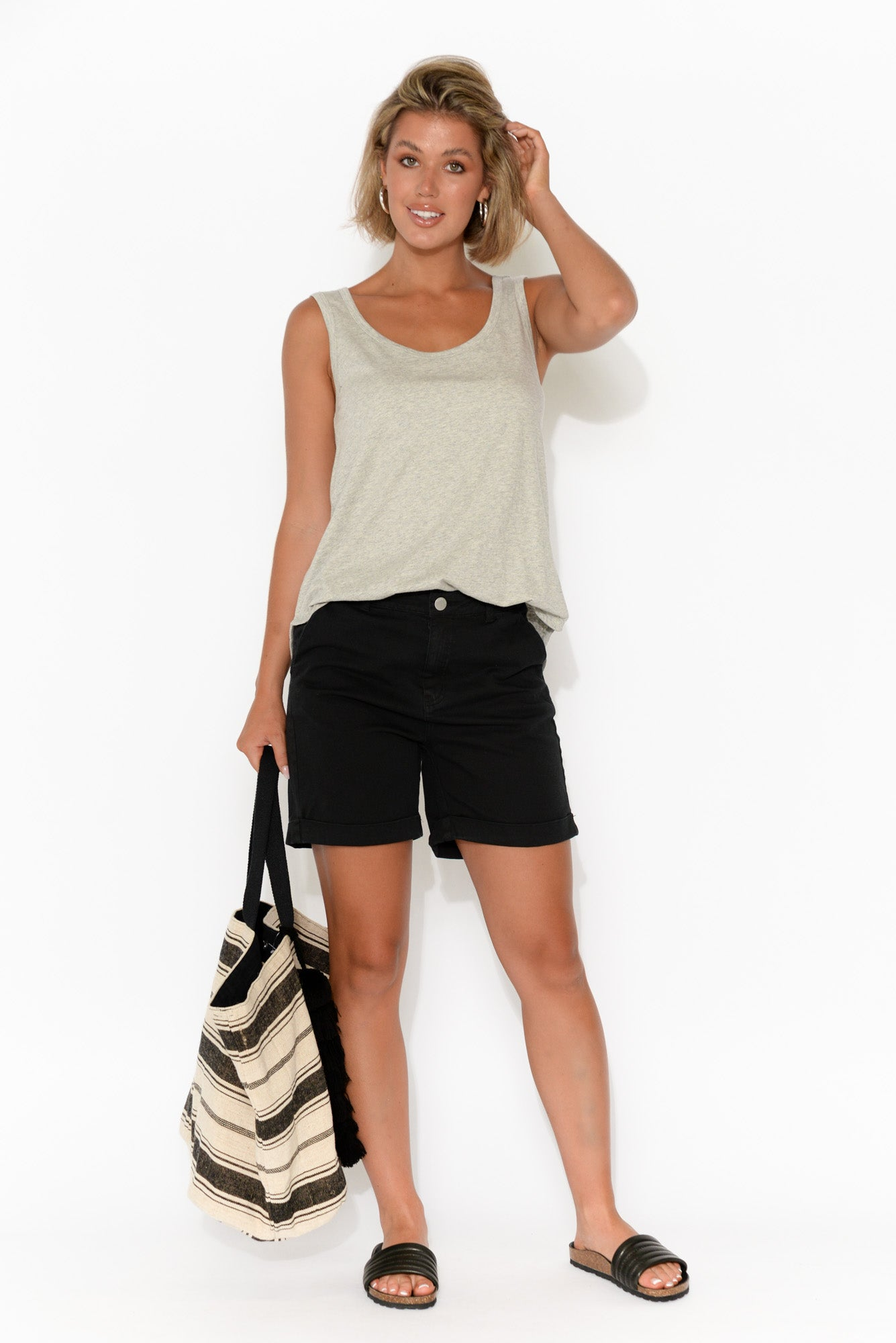 Caddy Black Cotton Cuffed Shorts