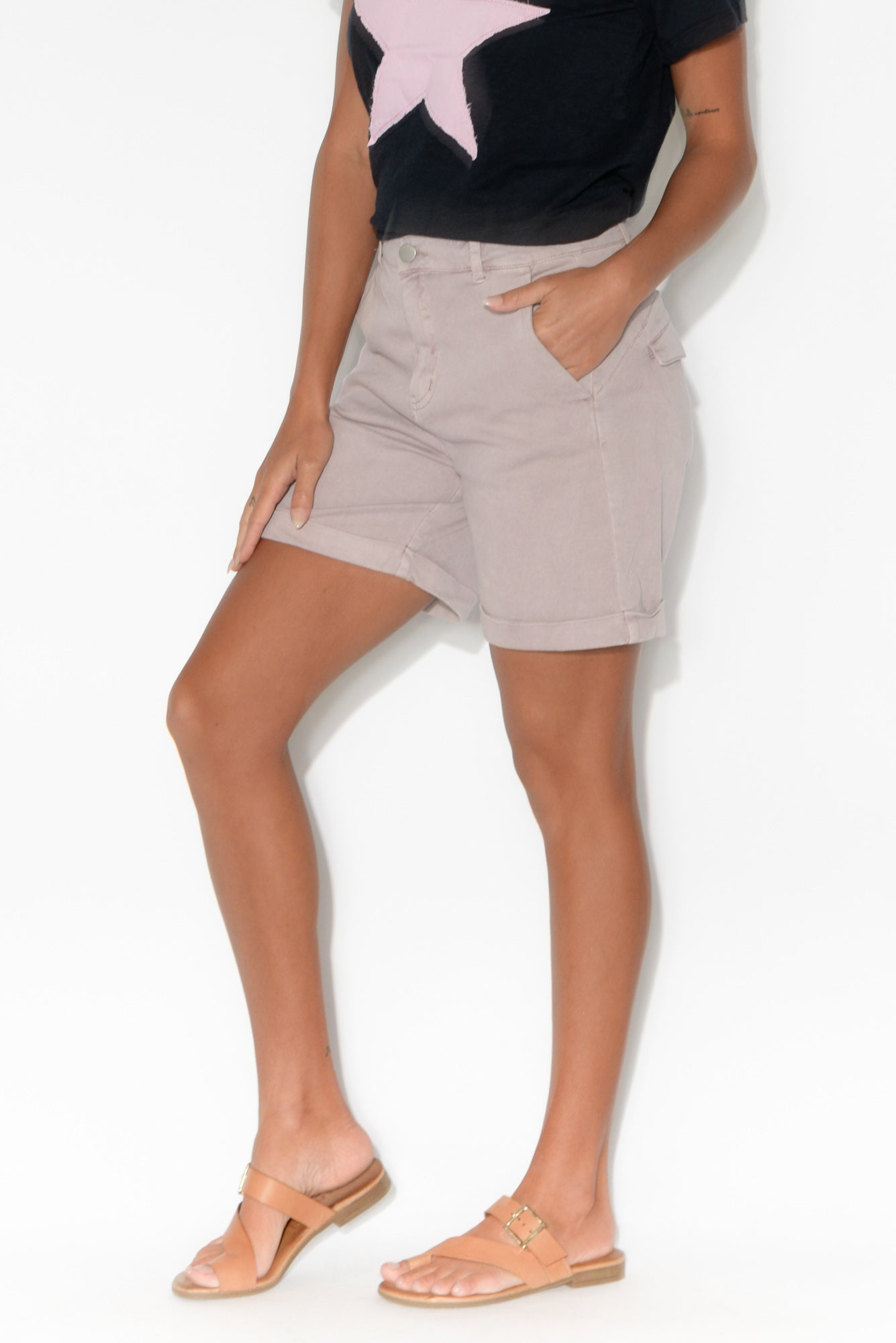 Caddy Lilac Cotton Cuffed Shorts