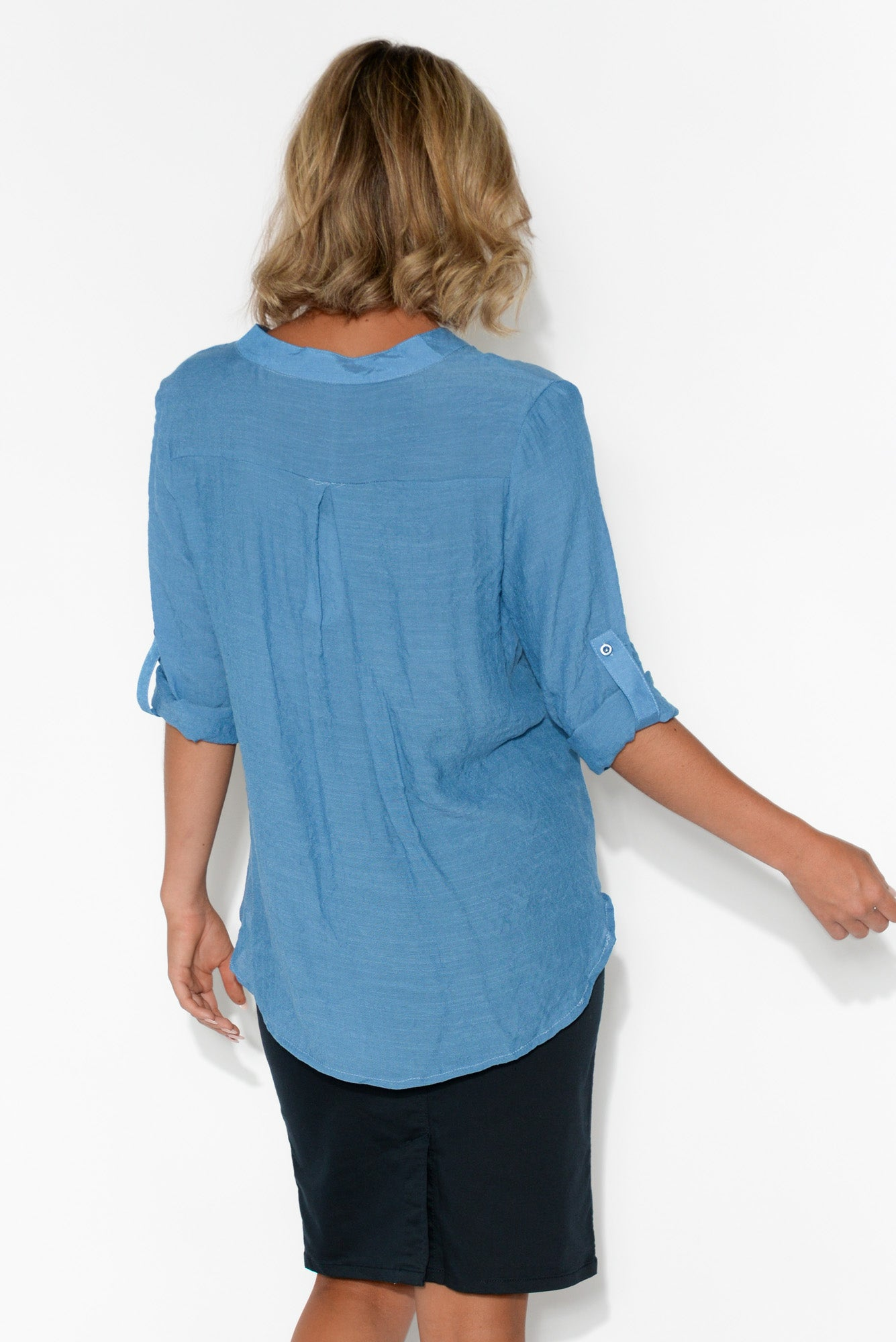 Cadence Blue Wrap Top